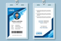 001 Blue Graphic Employee Id Card Template Vector Free within Free Id Card Template Word