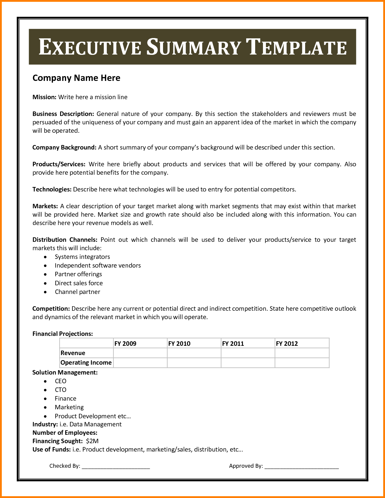 002 Executive Summary Template Doc Word Tcabzfr3 Wondrous With Regard To Executive Summary Report Template