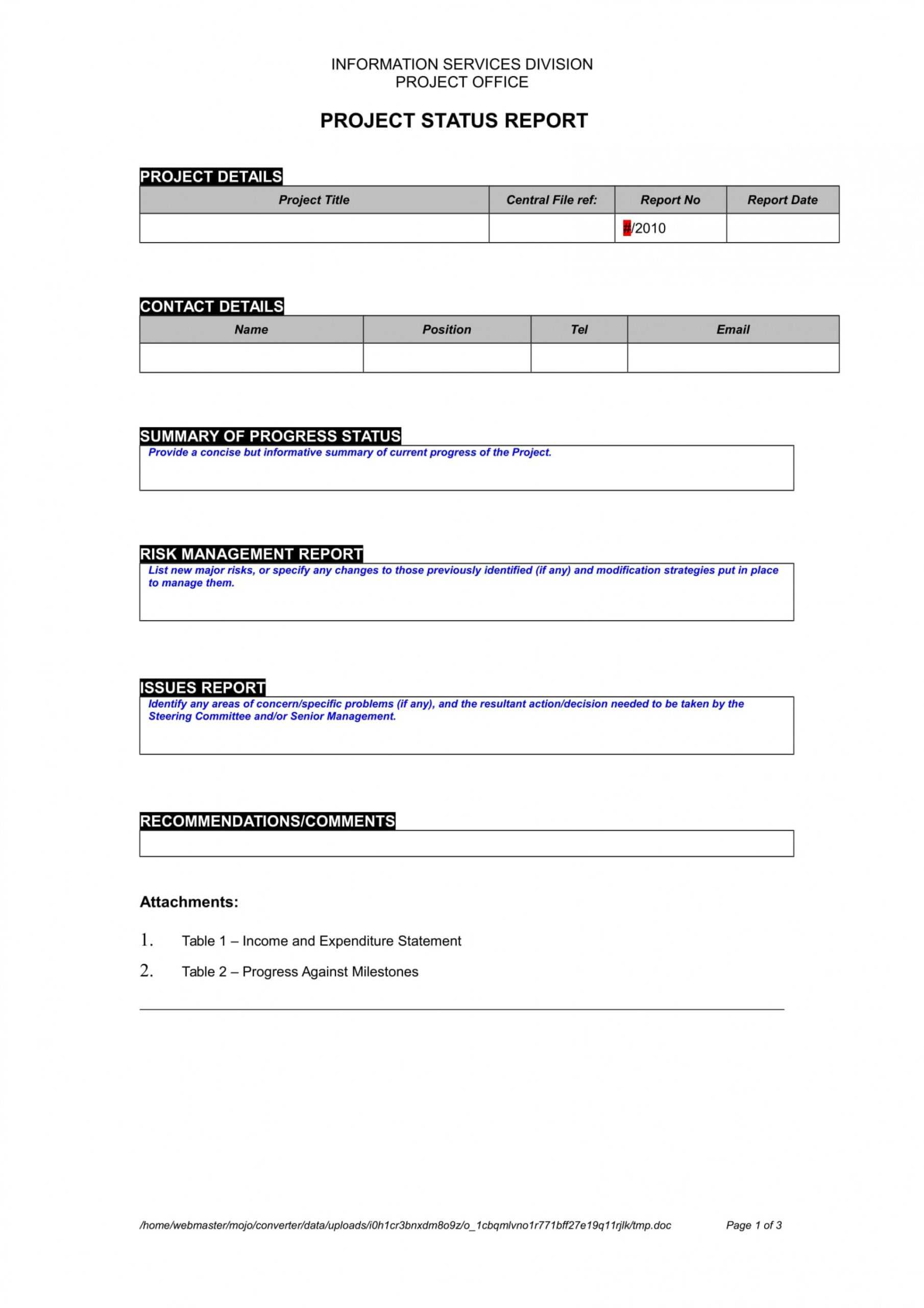 002 Status Report Template Project Management Amazing Ideas throughout Report To Senior Management Template