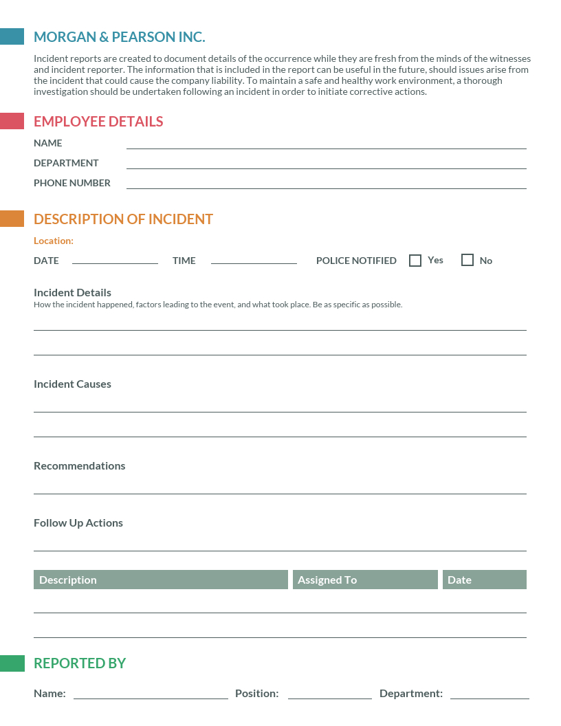 002 Template Ideas Employee Incident Report Colorful Top Throughout Incident Hazard Report Form Template