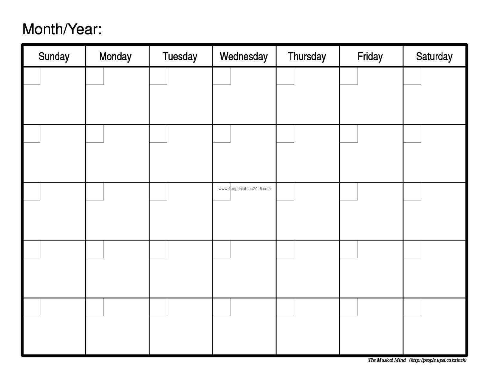 003 Free Printable Calendar Blank Templates Monthly Of with Blank Calender Template