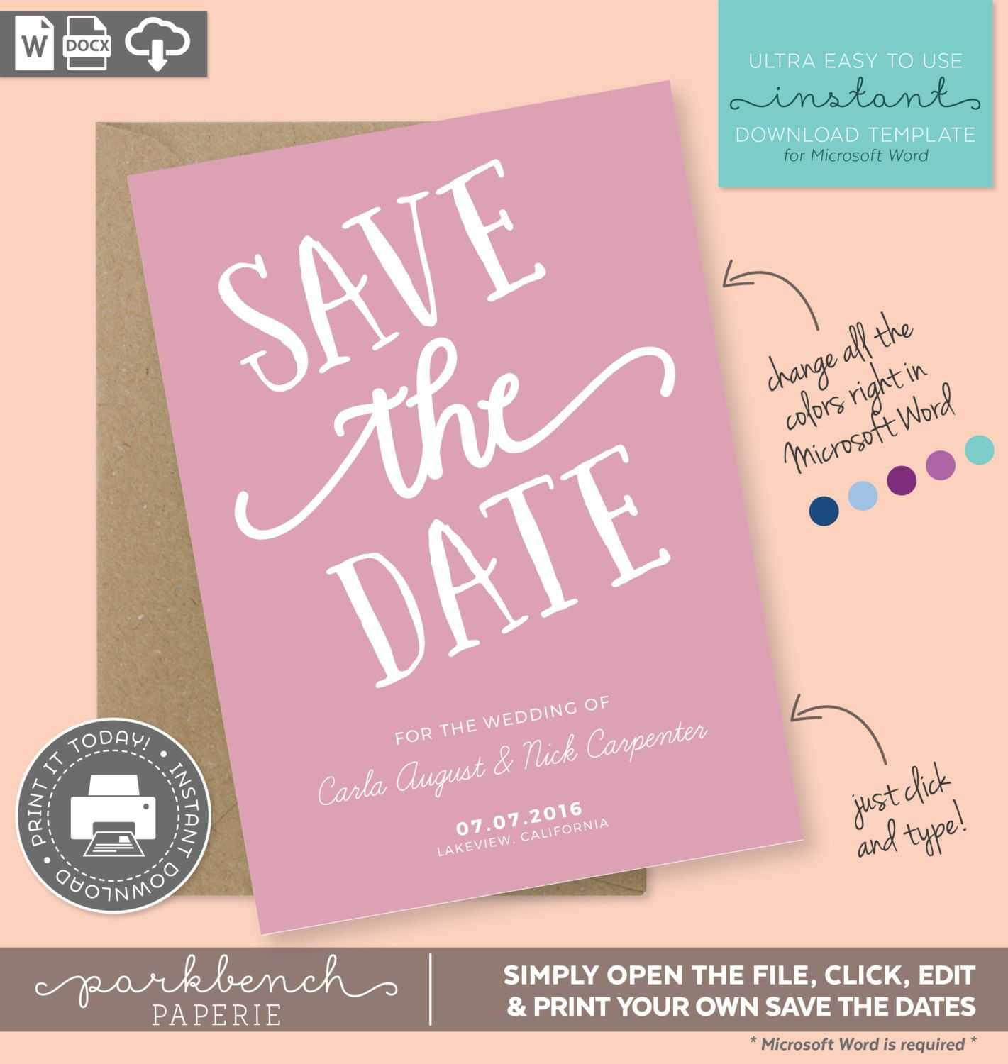 004 Save The Date Templates Word Template Frightening Ideas throughout Save The Date Templates Word