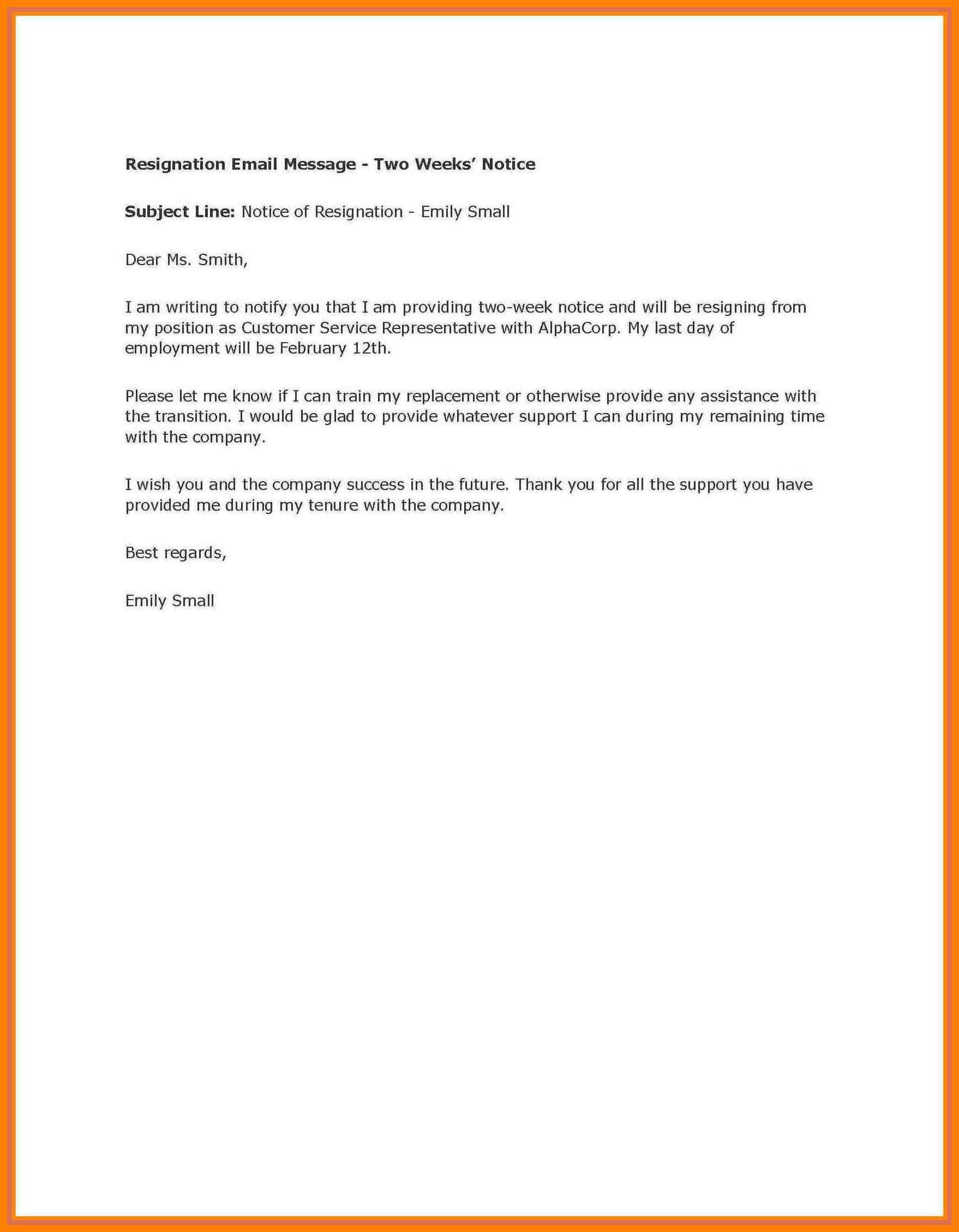 004 Week Notice Template Word Ideas Two Weeks Letter Example In Two Week Notice Template Word