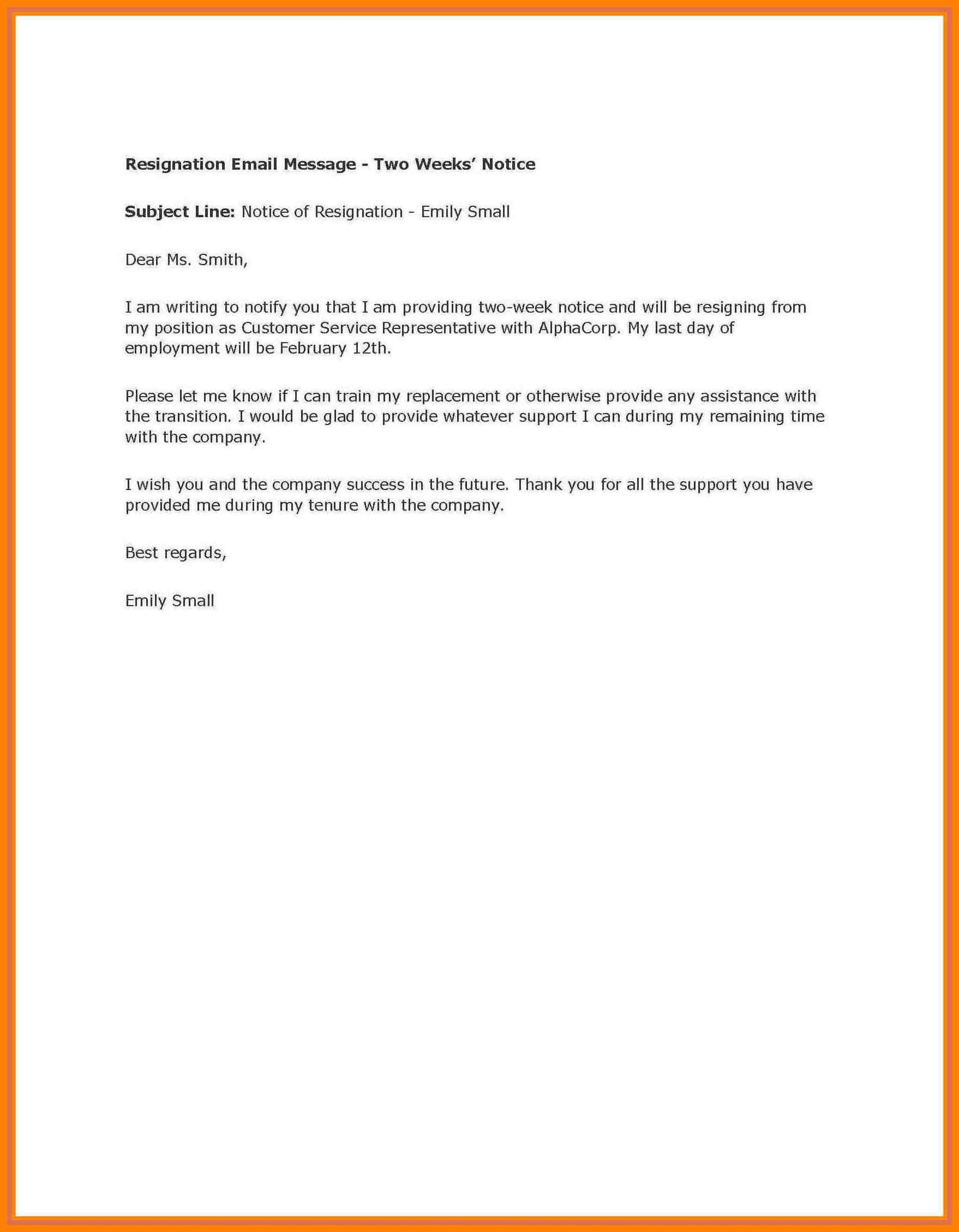004 Week Notice Template Word Ideas Two Weeks Letter Example Pertaining To 2 Weeks Notice Template Word