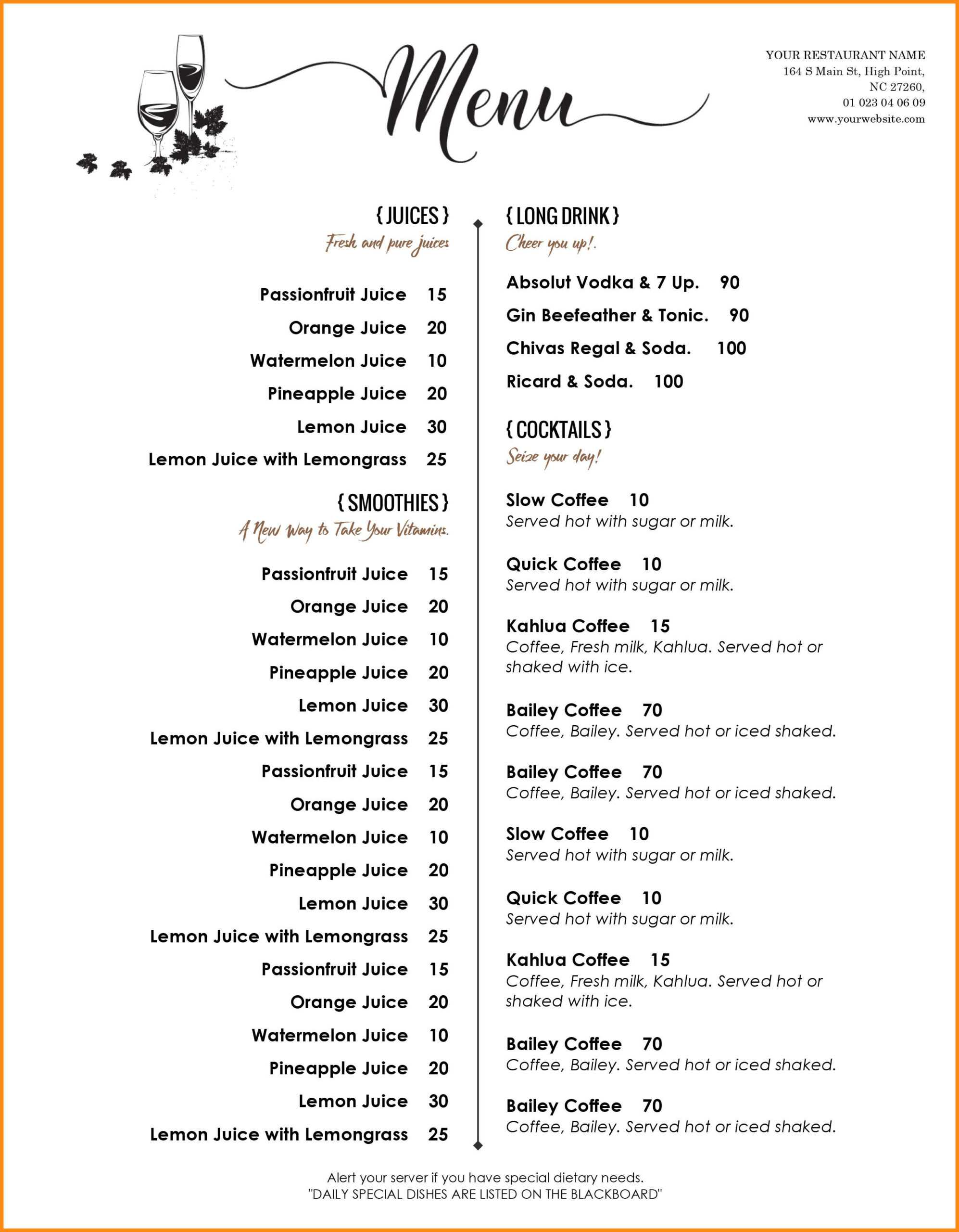 006 Menu Templates Free Download Word Drink Template Dreaded With Regard To Free Cafe Menu Templates For Word