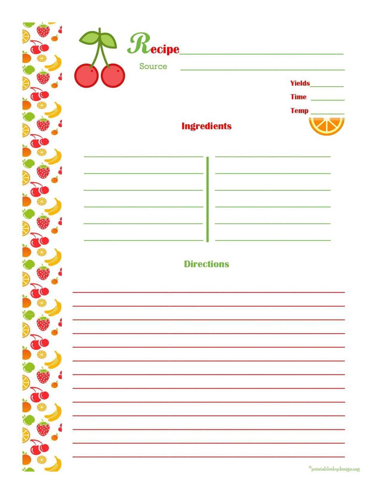 009 Free Recipe Template For Word Ideas Unique 4X6 Card Ms In Full Page Recipe Template For Word