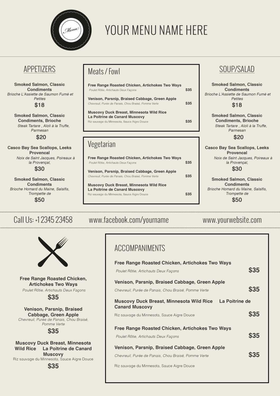 015 Menu Templates Free Download Word Friench Food Template Pertaining To Free Cafe Menu Templates For Word