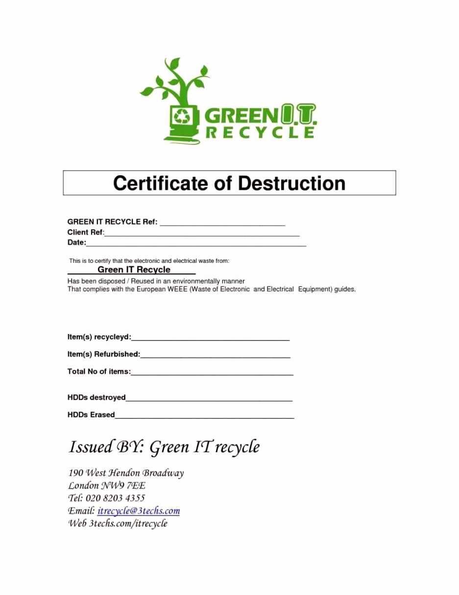 016 Certificate Of Destruction Template Ideas Bunch For regarding Free Certificate Of Destruction Template