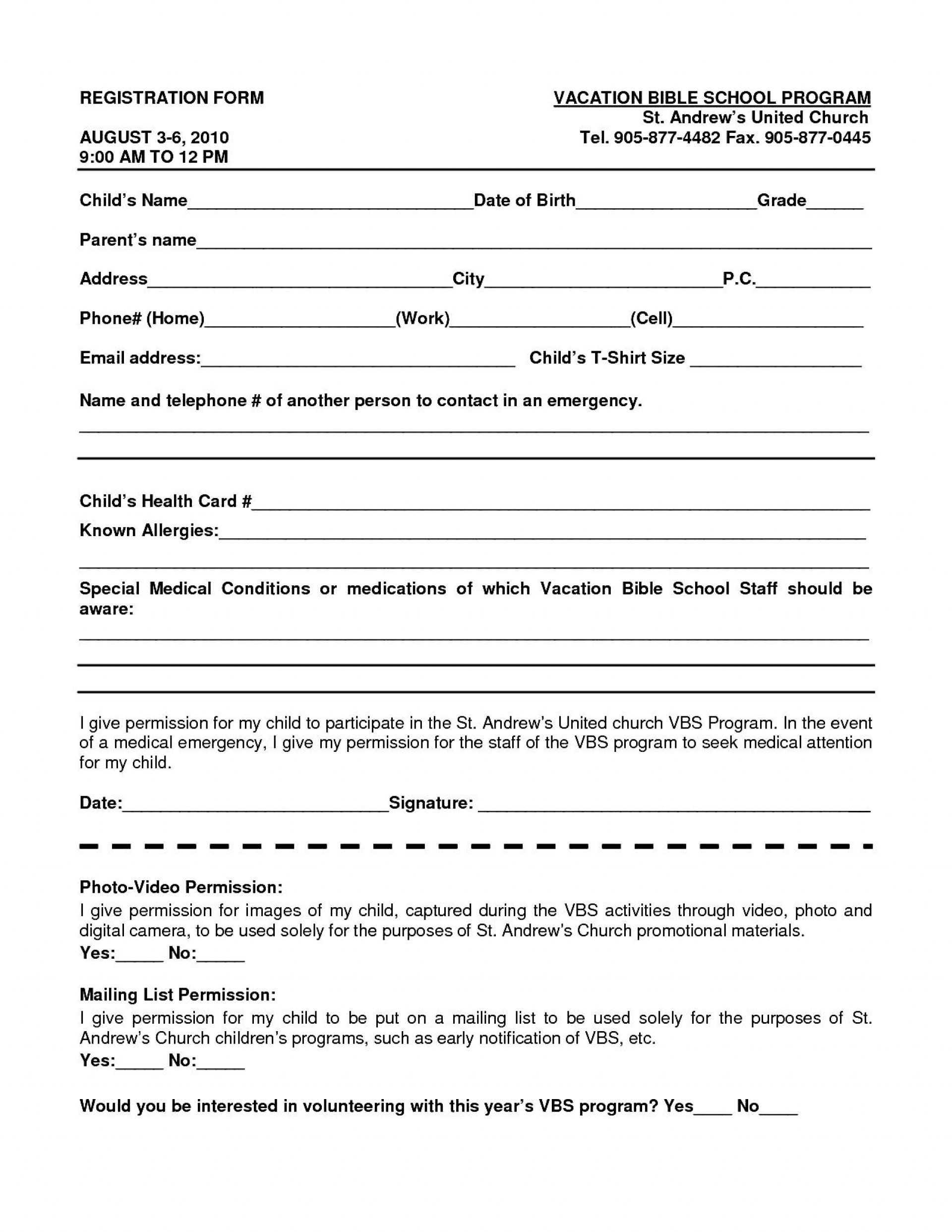 016 School Registration Form Template Word Ideas Free In Throughout School Registration Form Template Word
