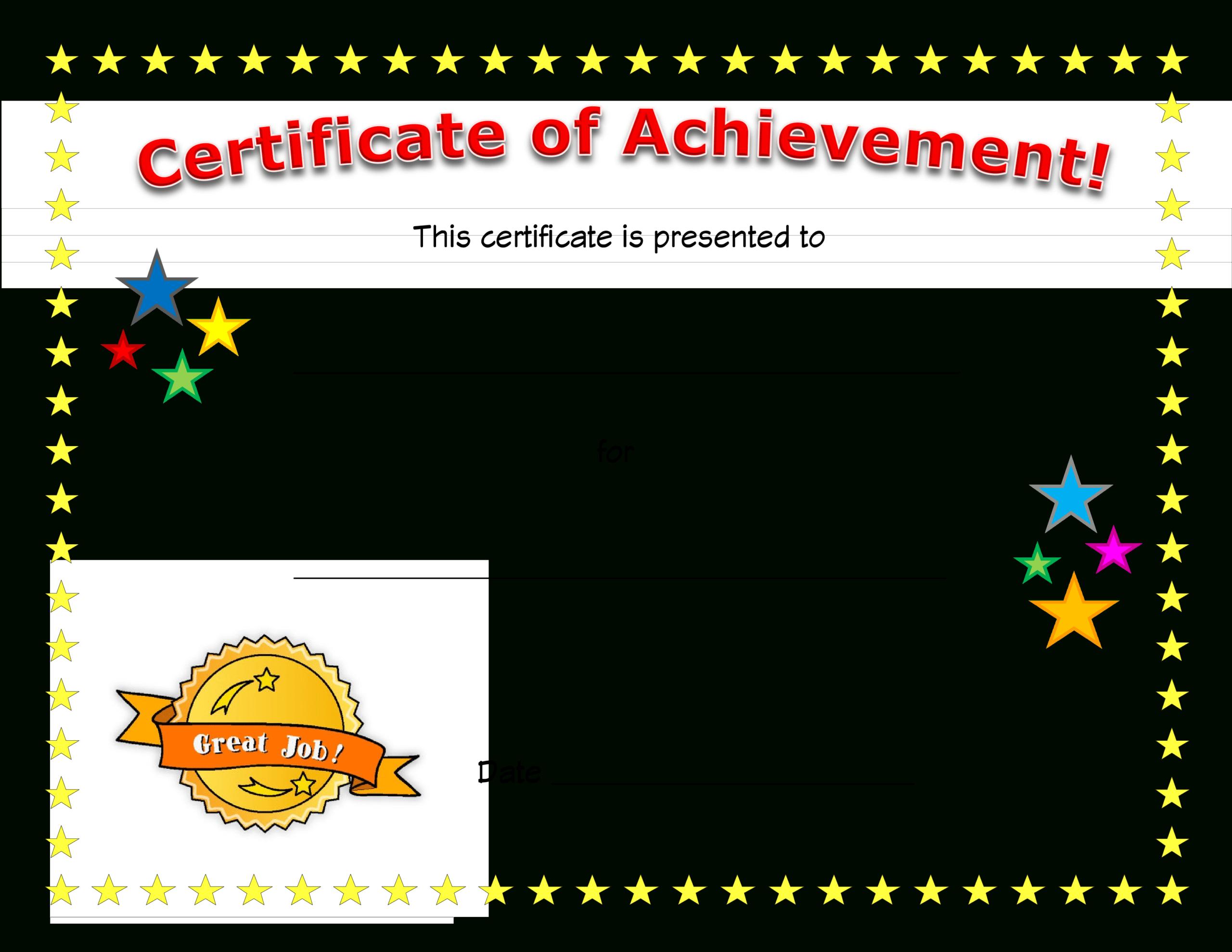018 Template Ideas Acheivement Certificate Templates Of with regard to Good Job Certificate Template