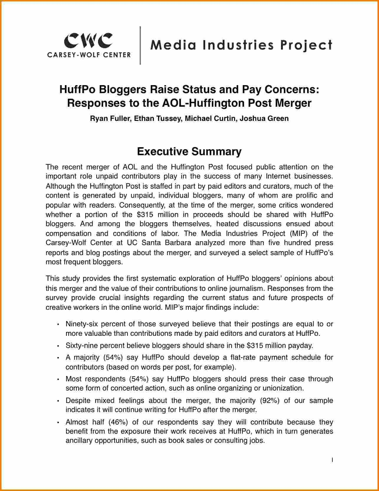 021 Example Executive Summary For Academic Paper Report within Template For Summary Report