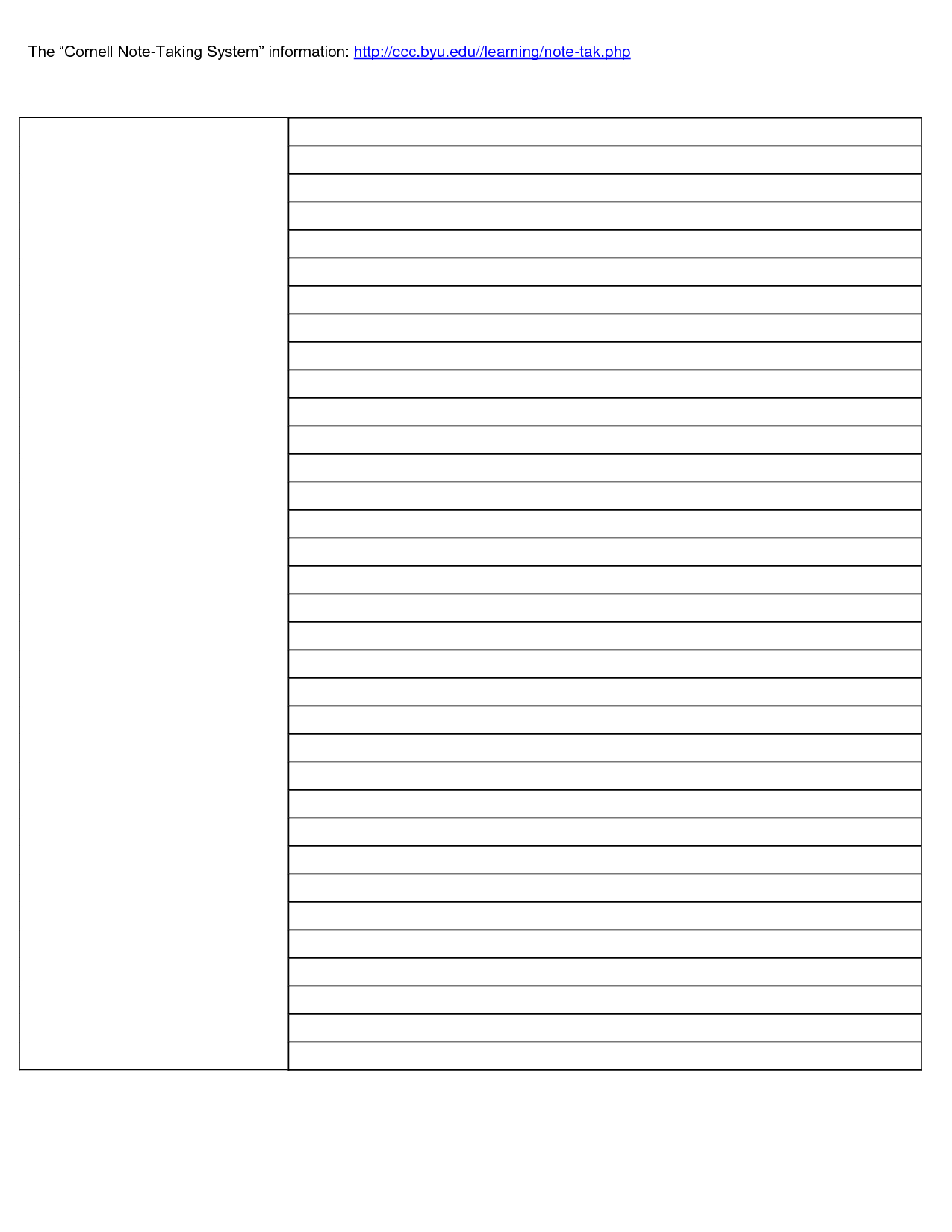 023 Cornell Note Taking Template Word 31836 Research Paper intended for Note Taking Template Word