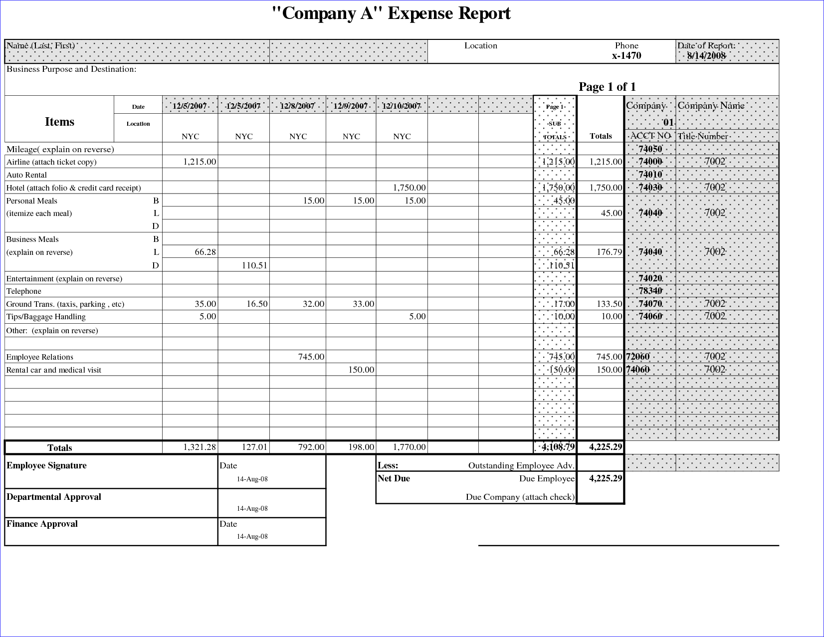 025 Business Expense Report Template Basic Company With Throughout Company Expense Report Template