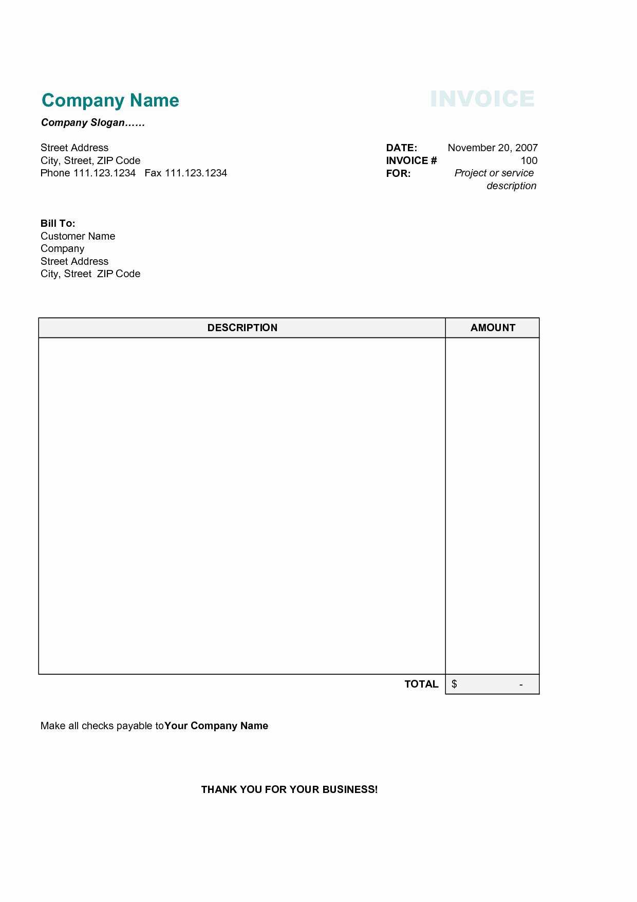 027 Download Free Invoice Template Ideas Excel Fresh Simple pertaining to Free Invoice Template Word Mac
