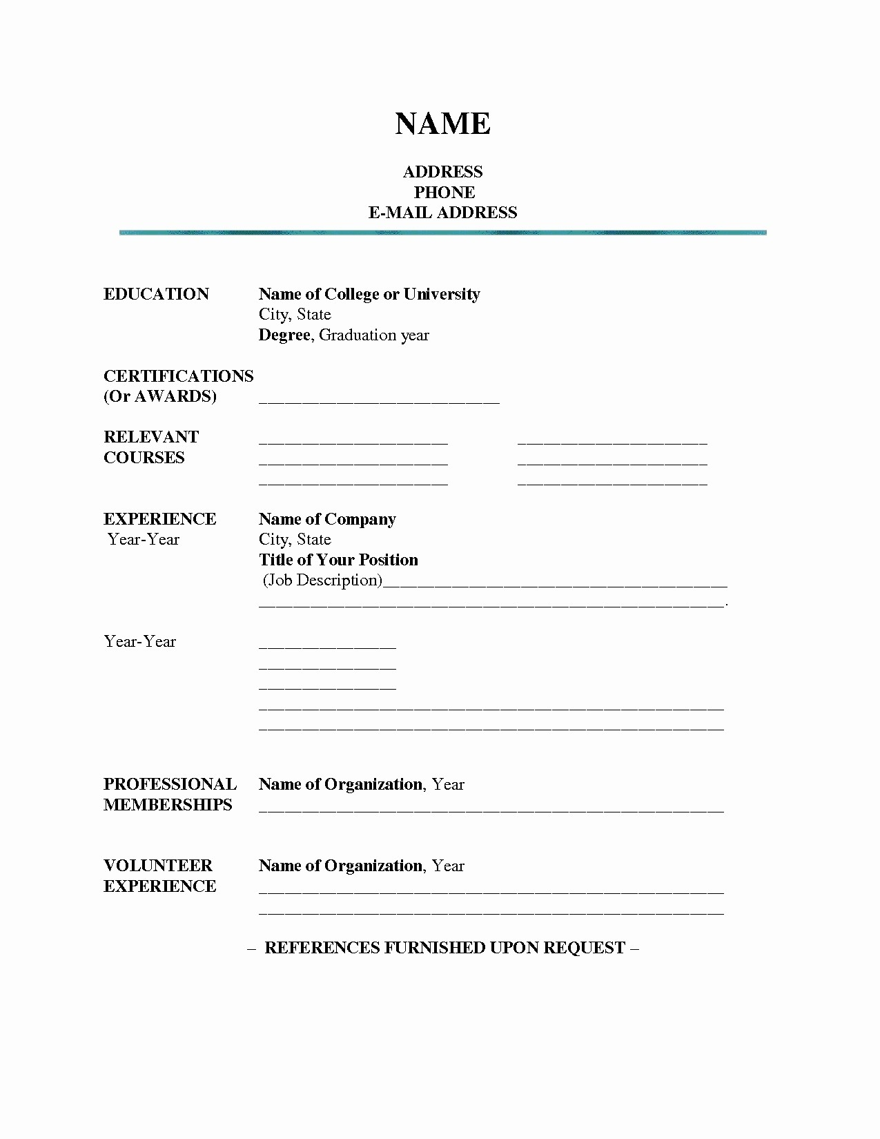 027 Free Blank Resume Templates Blanksume Form Professional inside Free Blank Cv Template Download