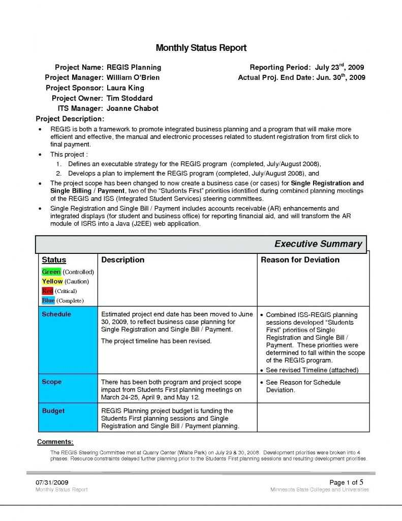 030 Executive Summary Template Doc Ideas Project Management inside Deviation Report Template