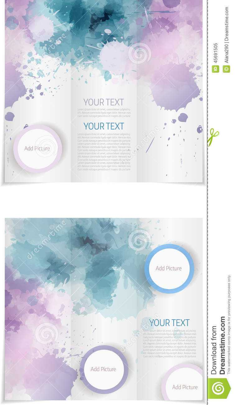 030 Tri Fold Brochure Template Paint Splashes Blue Purple pertaining to Microsoft Word Brochure Template Free