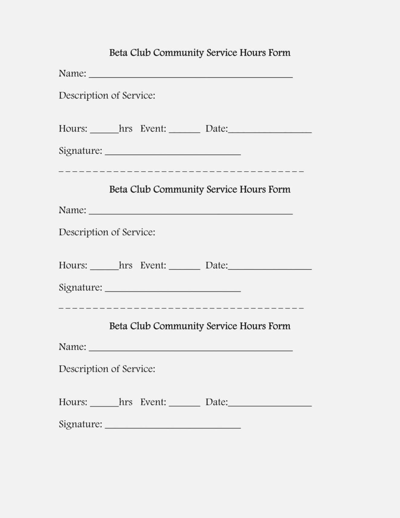 032 Community Service Form Template Hours Log Sheet inside Volunteer Report Template