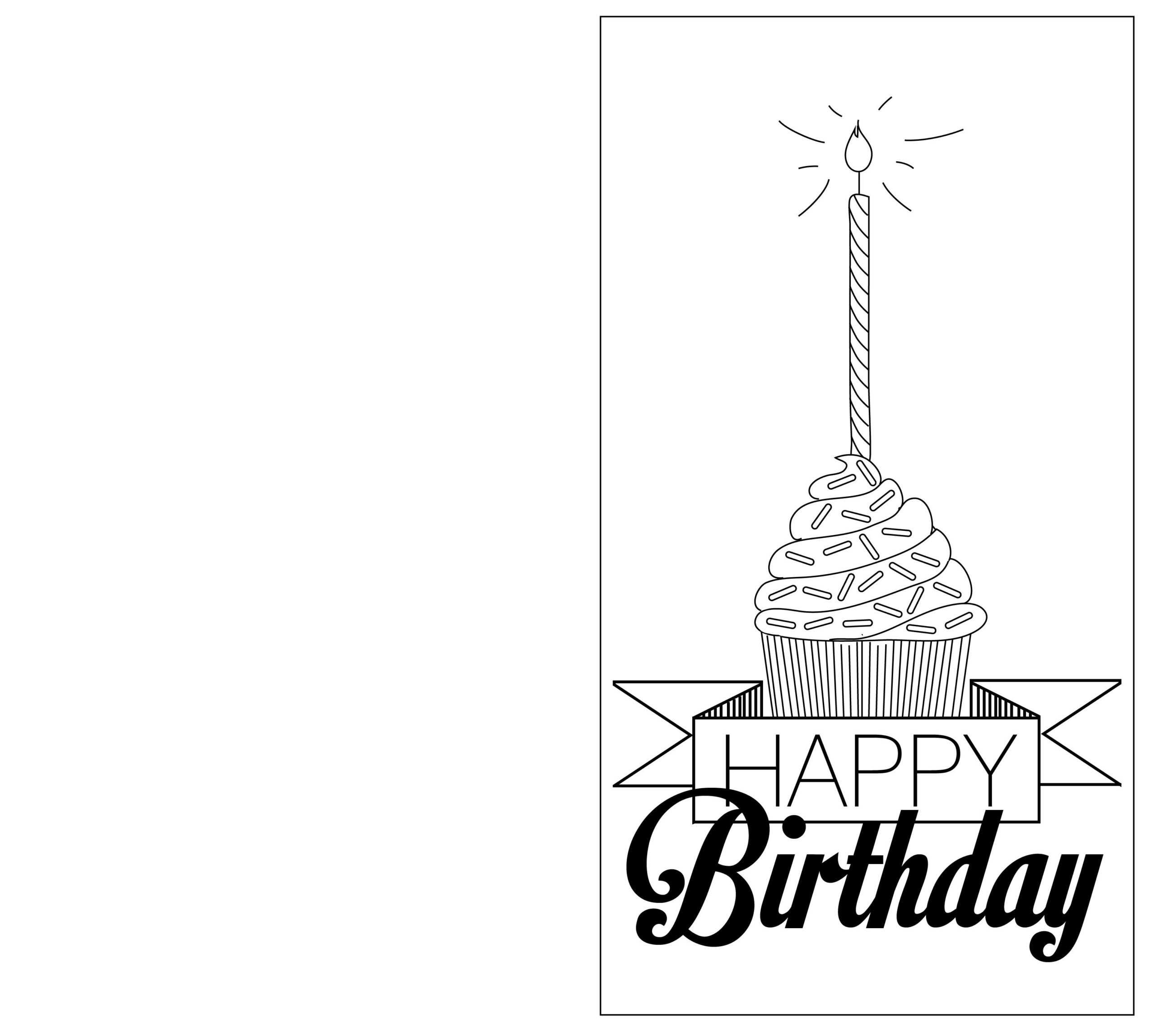 032 Printable Birthday Card Template Black And White Sample Throughout Foldable Birthday Card Template