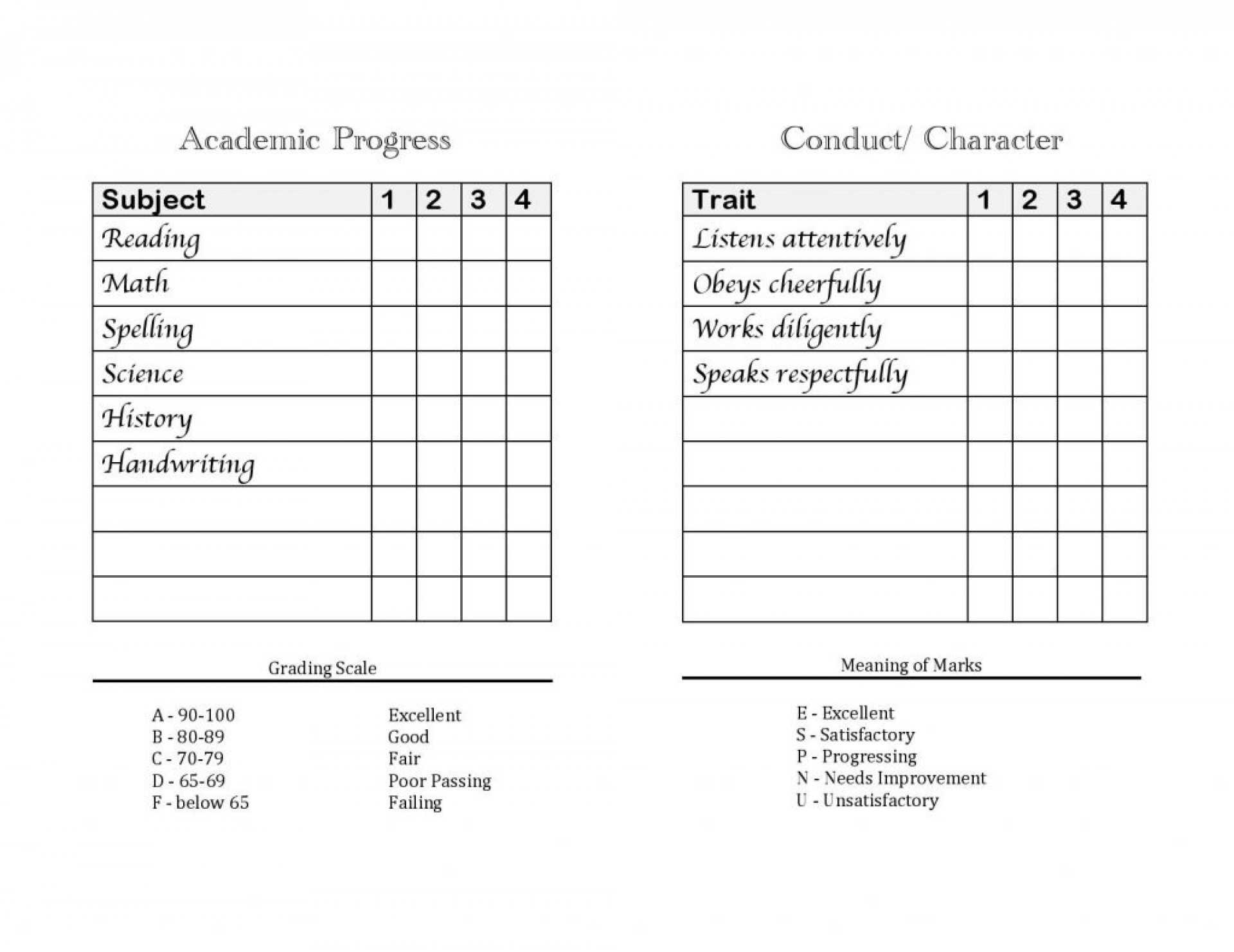 046 Home Montessori Preschool Report Card Template Pdf throughout Character Report Card Template