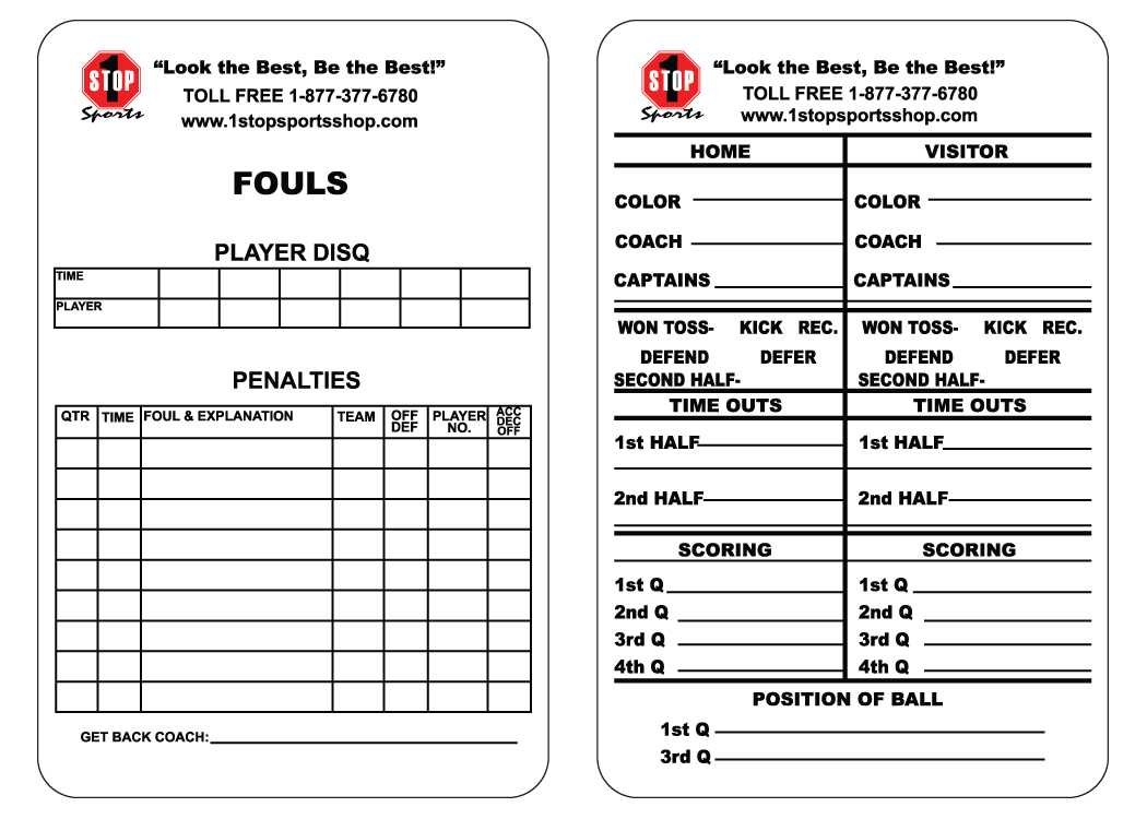 1 Stop Sports Reusable Football Game Card - 1 Stop Sports within Soccer Referee Game Card Template