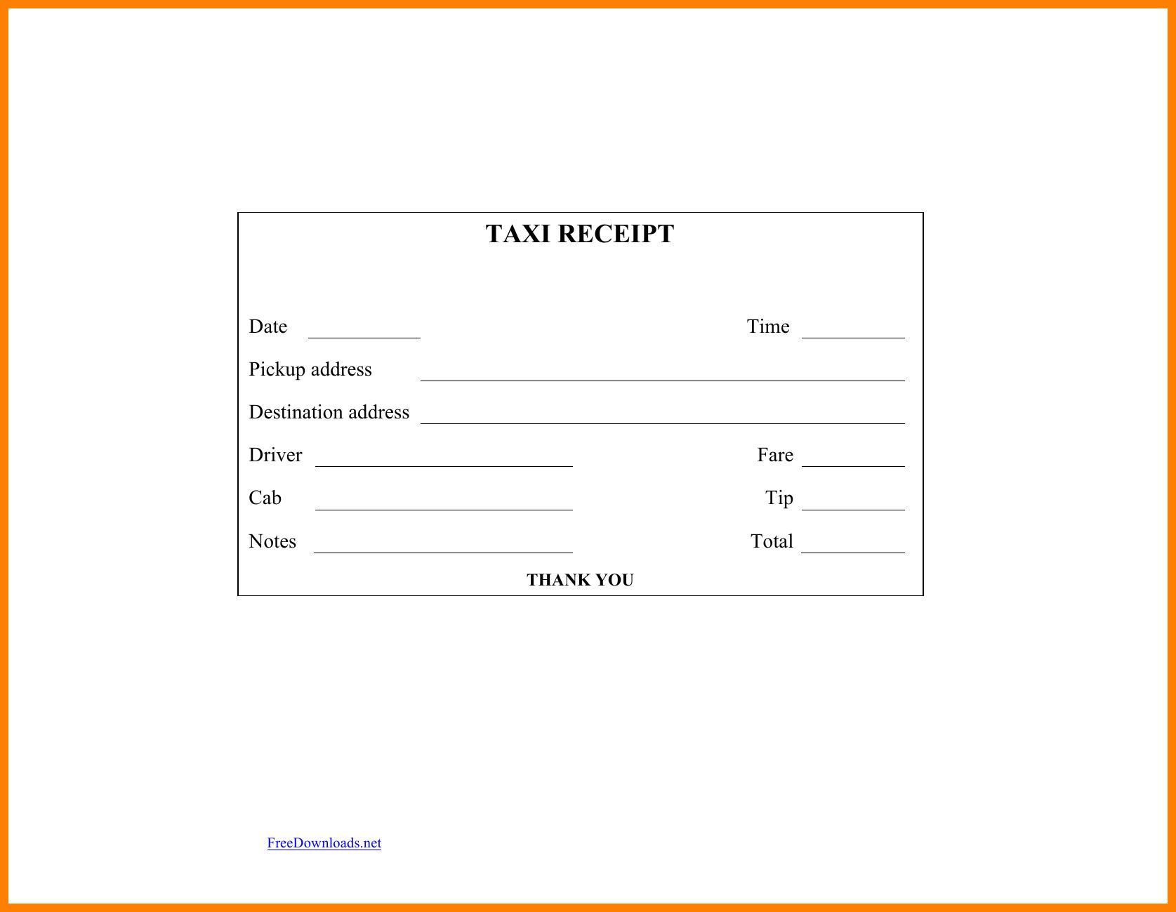 10+ Generic Taxi Receipt | Reptile Shop Birmingham in Blank Taxi Receipt Template