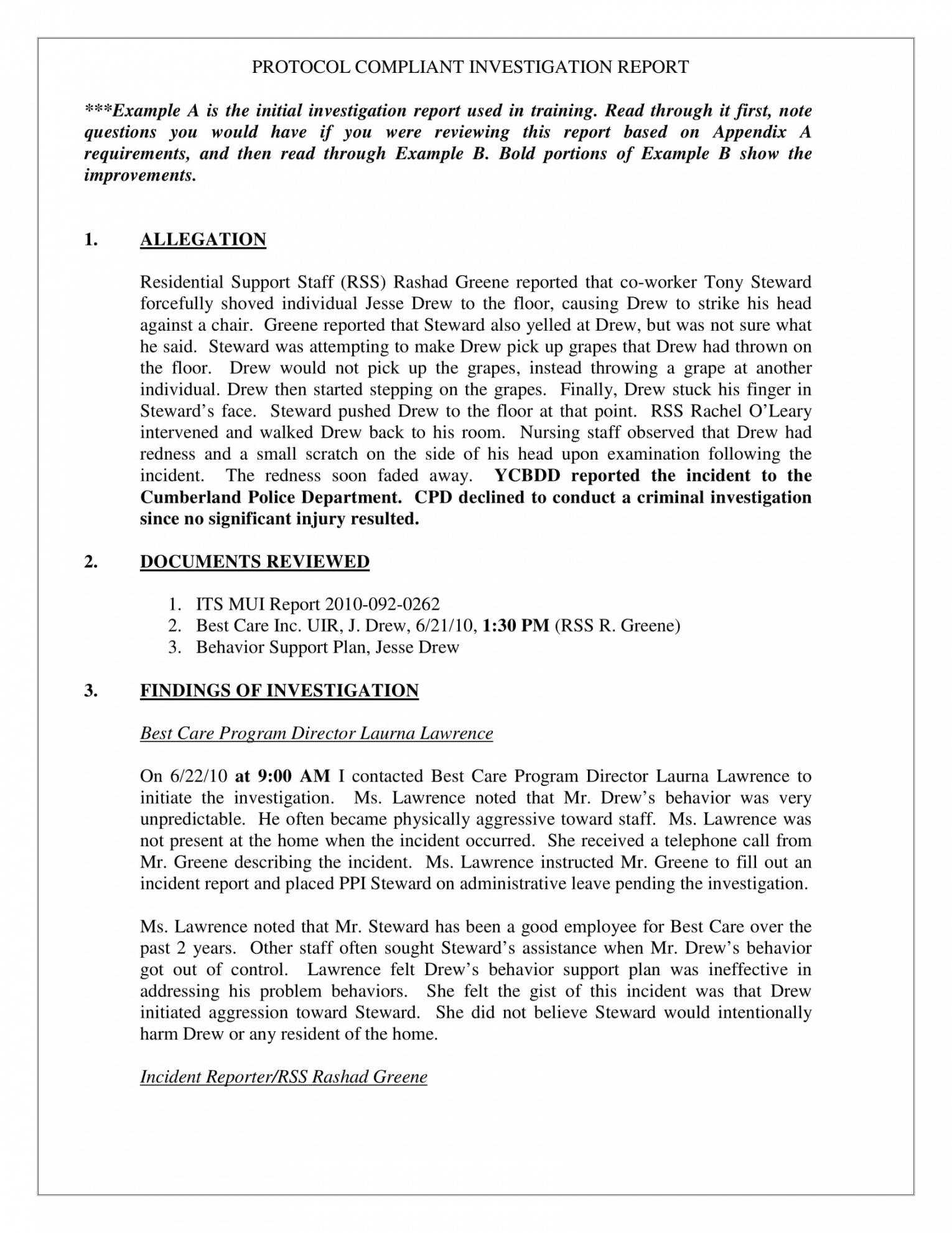 10 Workplace Investigation Report Examples Pdf Examples Intended For Workplace Investigation Report Template