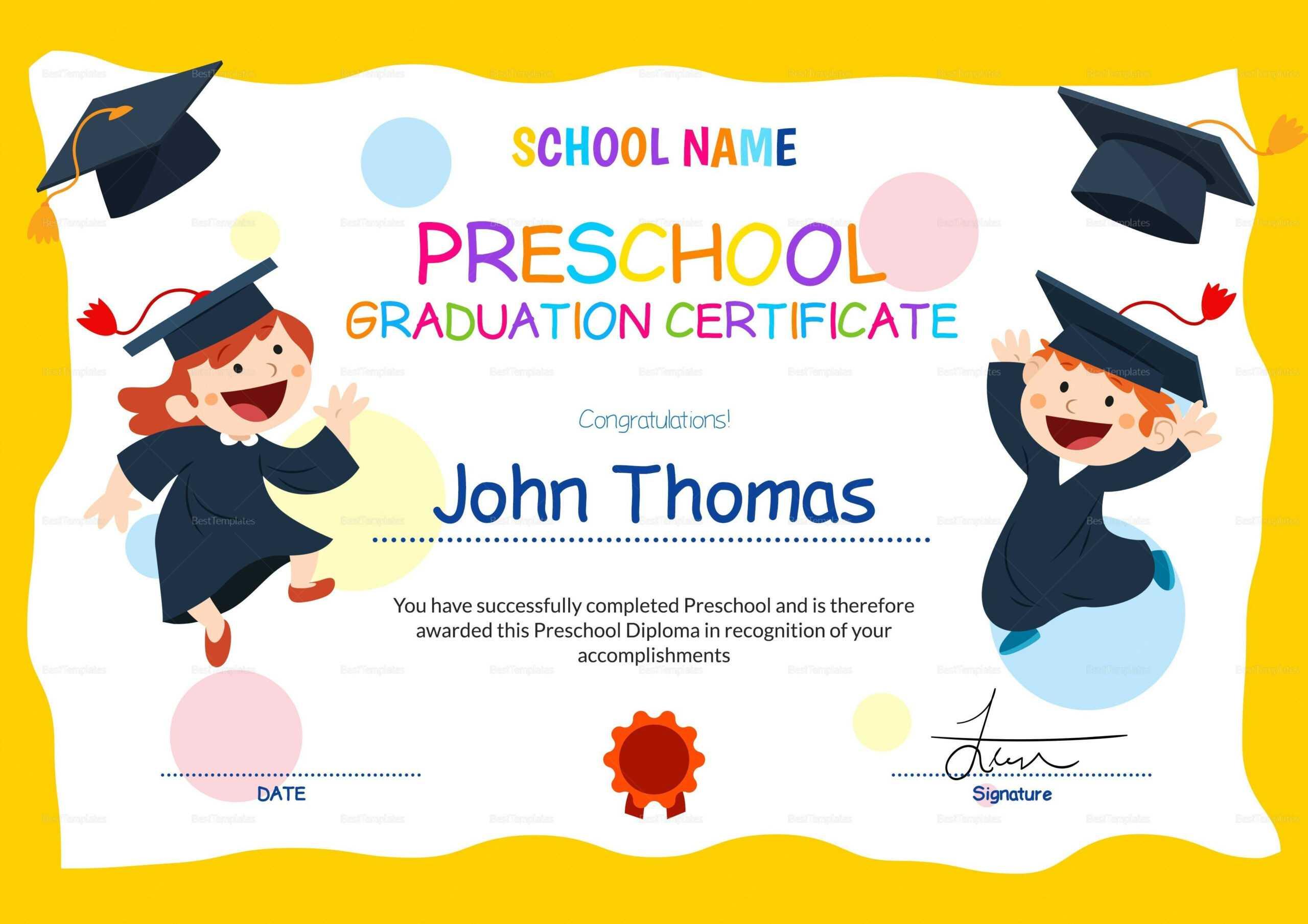 11+ Preschool Certificate Templates - Pdf | Free & Premium In Preschool Graduation Certificate Template Free