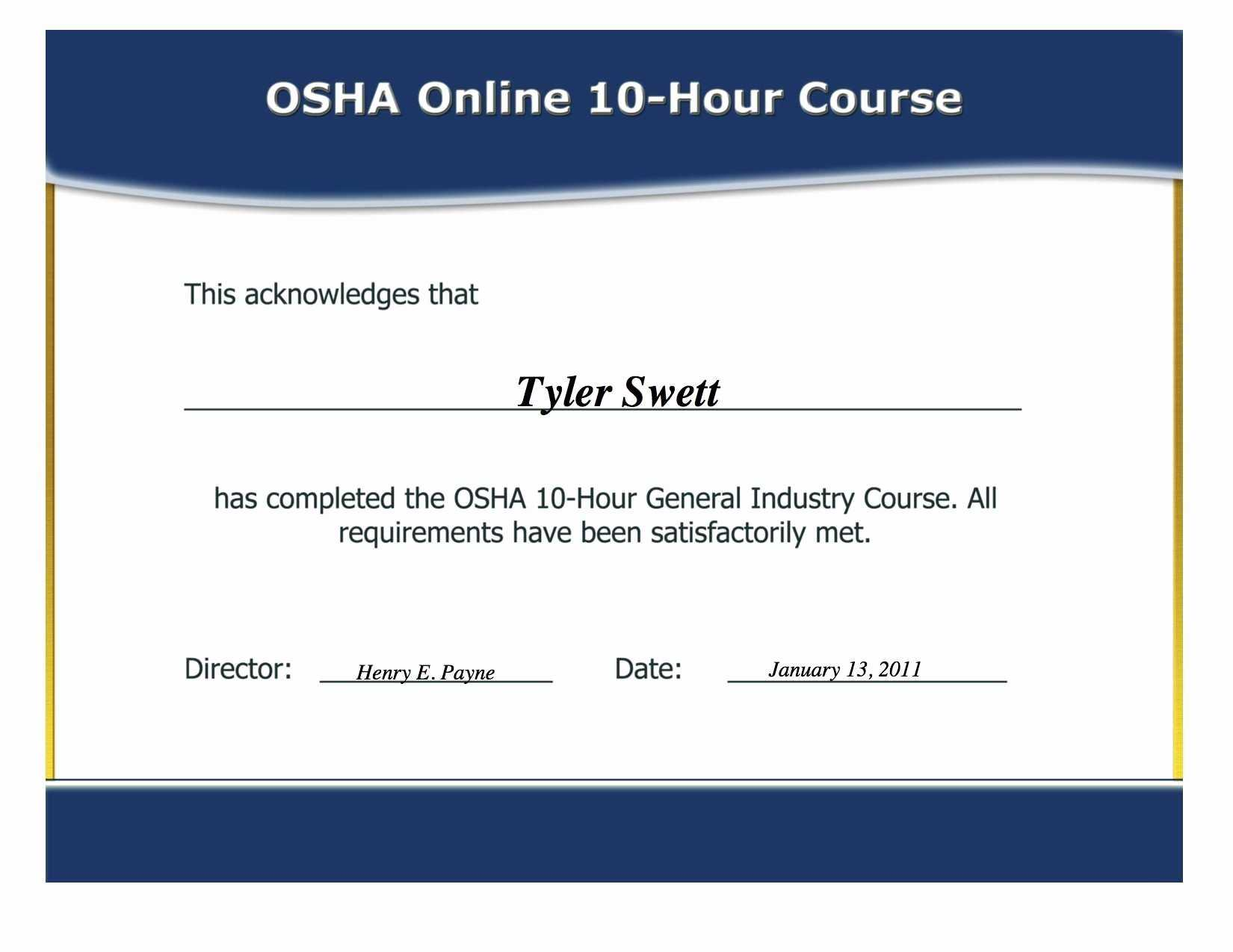12 Certificate Of Training Template Free   Business Letter within Osha 10 Card Template
