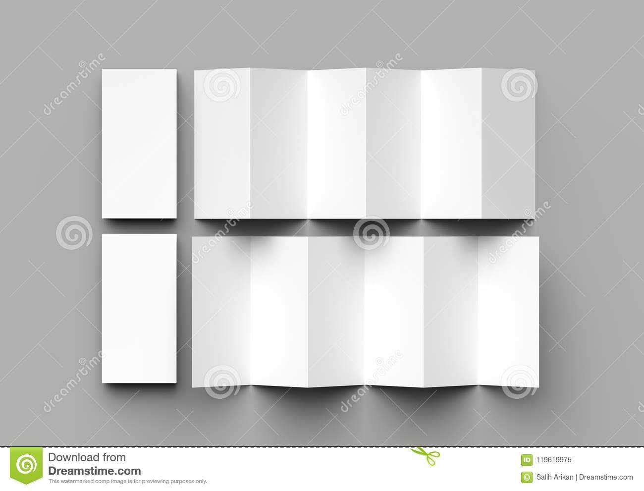 12 Page Leaflet, 6 Panel Accordion Fold - Z Fold Vertical For 12 Page Brochure Template