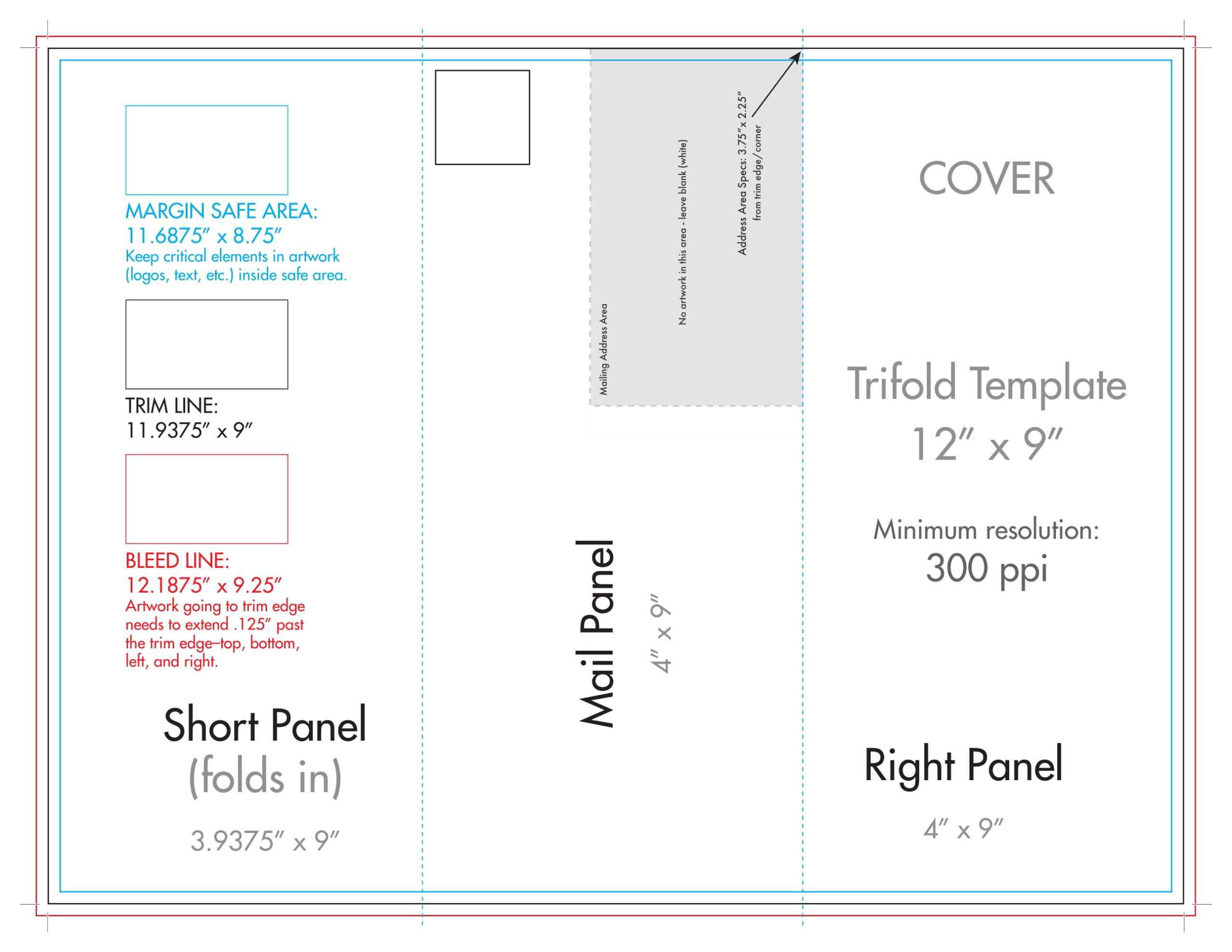 "12"" X 9"" Rack Brochure Template (Tri Fold) - U.s. Press Throughout 4 Fold Brochure Template"