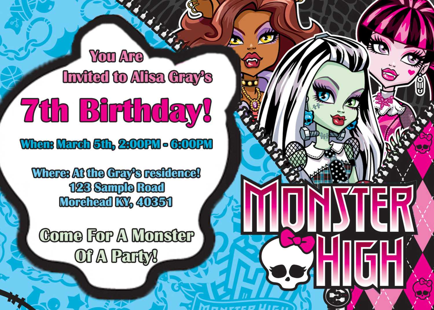 14 Best Photos Of Monster High Birthday Invitations pertaining to Monster High Birthday Card Template
