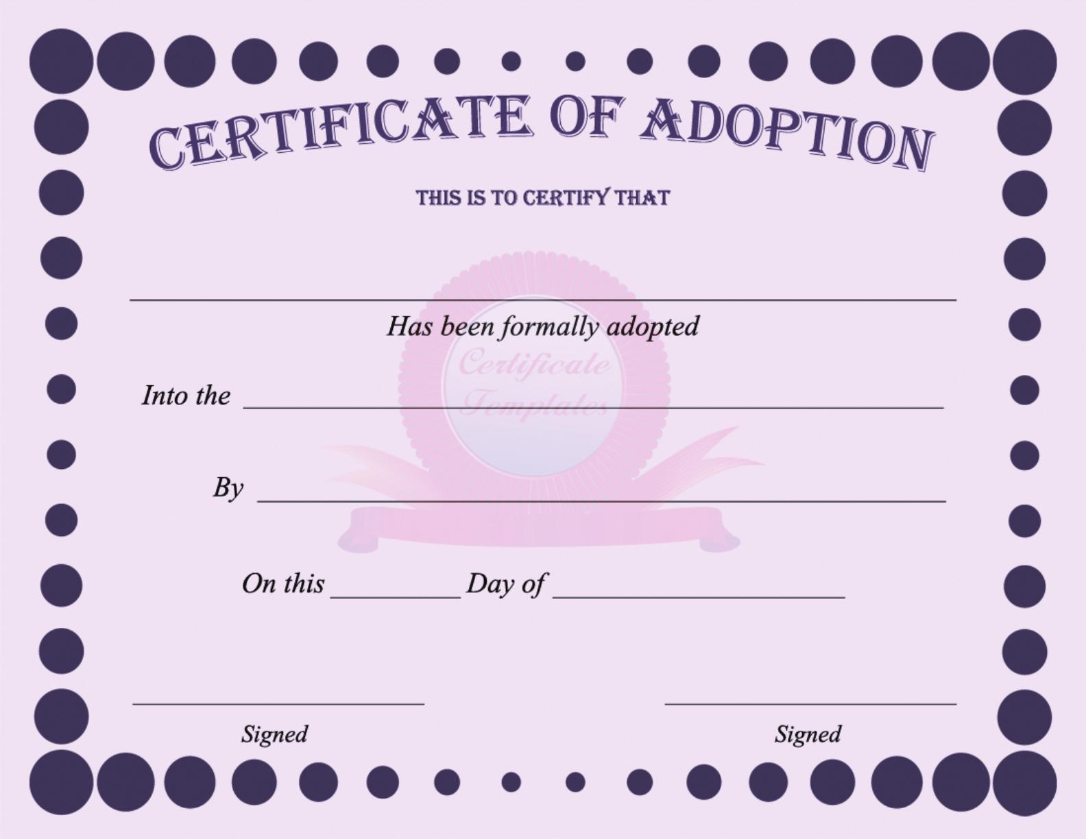 15+ Adoption Certificate Templates | Free Printable Word inside Toy Adoption Certificate Template