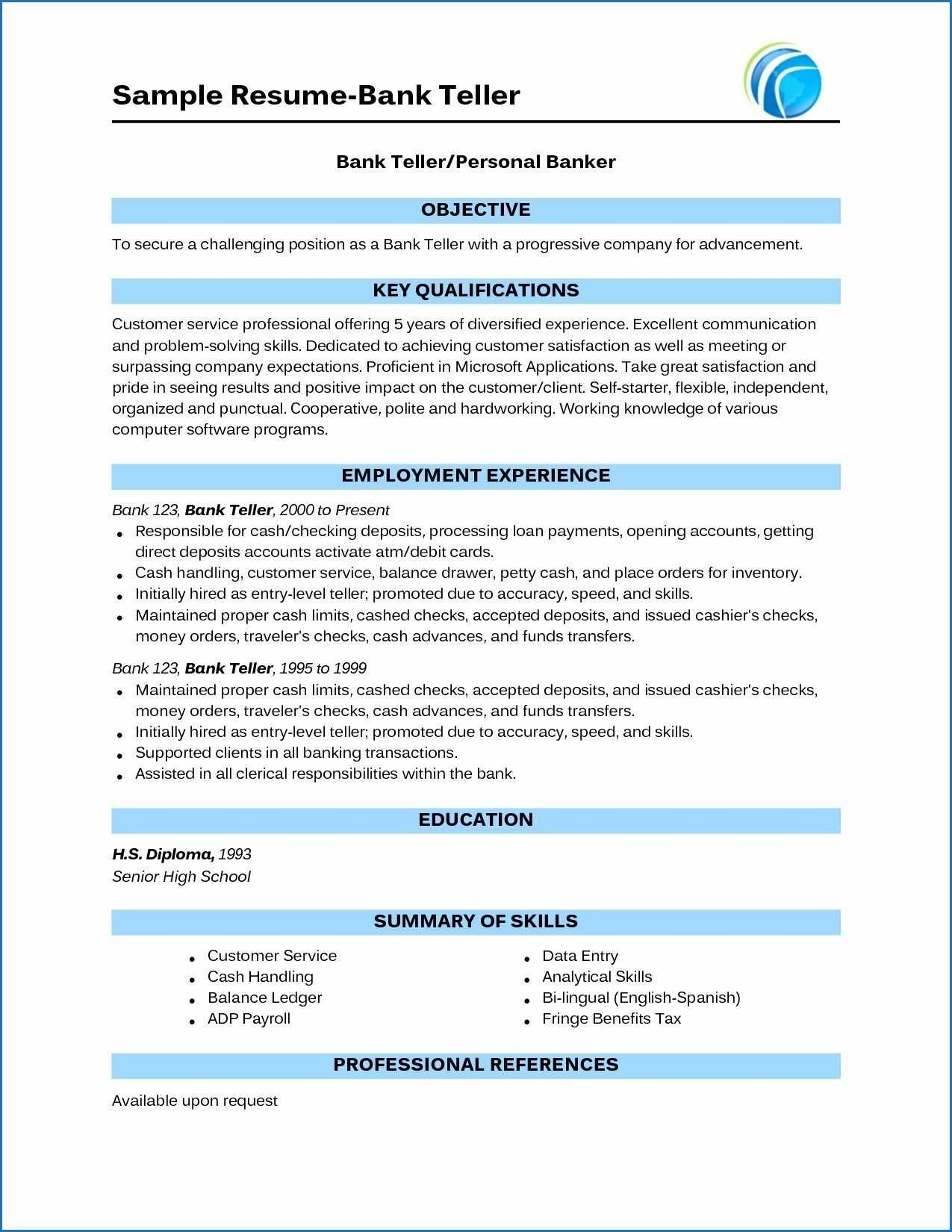 15 Banking Sector Resume Examples | Bank Teller Resume pertaining to Hiv Aids Brochure Templates