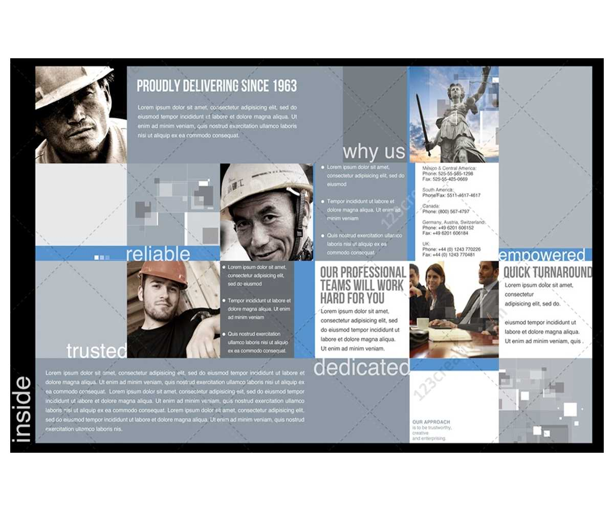 2 Pages Corporate Brochure Template For Construction pertaining to Engineering Brochure Templates