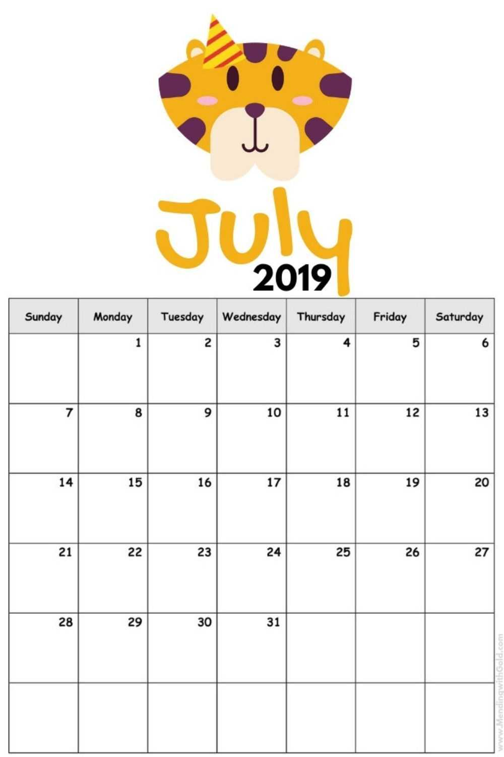 2019 Free Printable Calendar For Kids ('cause Children Love Pertaining To Blank Calendar Template For Kids