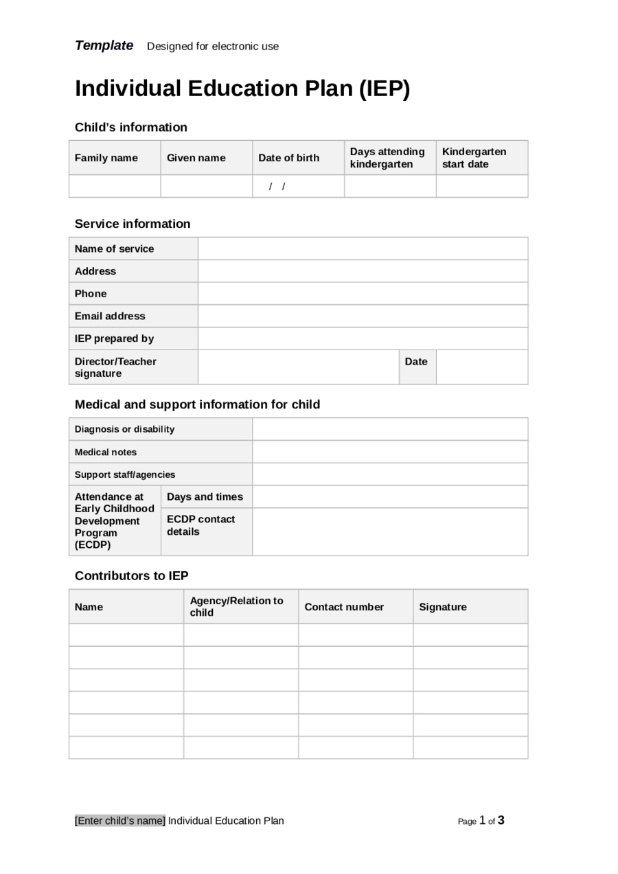 2019 Individual Education Plan – Fillable, Printable Pdf Intended For Blank Iep Template