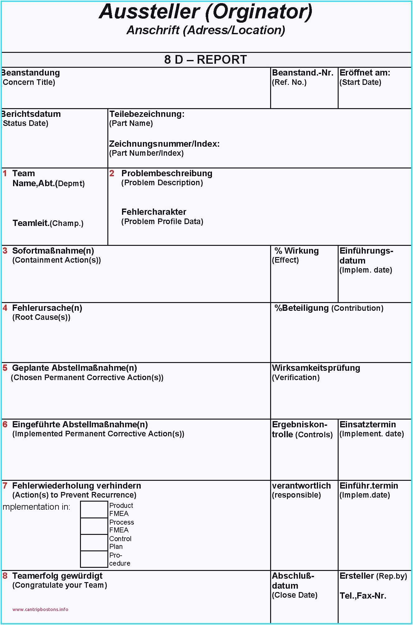 25. Genial 8D Report Vorlage Kreatives Muster, 8D Report with 8D Report Format Template
