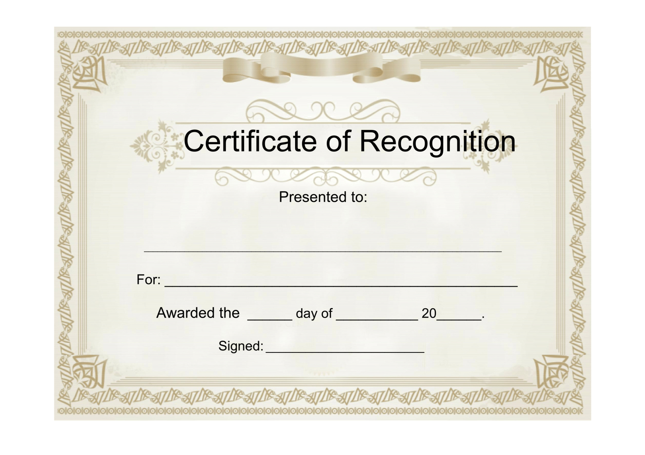 25 Useful Resources Of Certificate Of Recognition Template throughout Sample Certificate Of Recognition Template