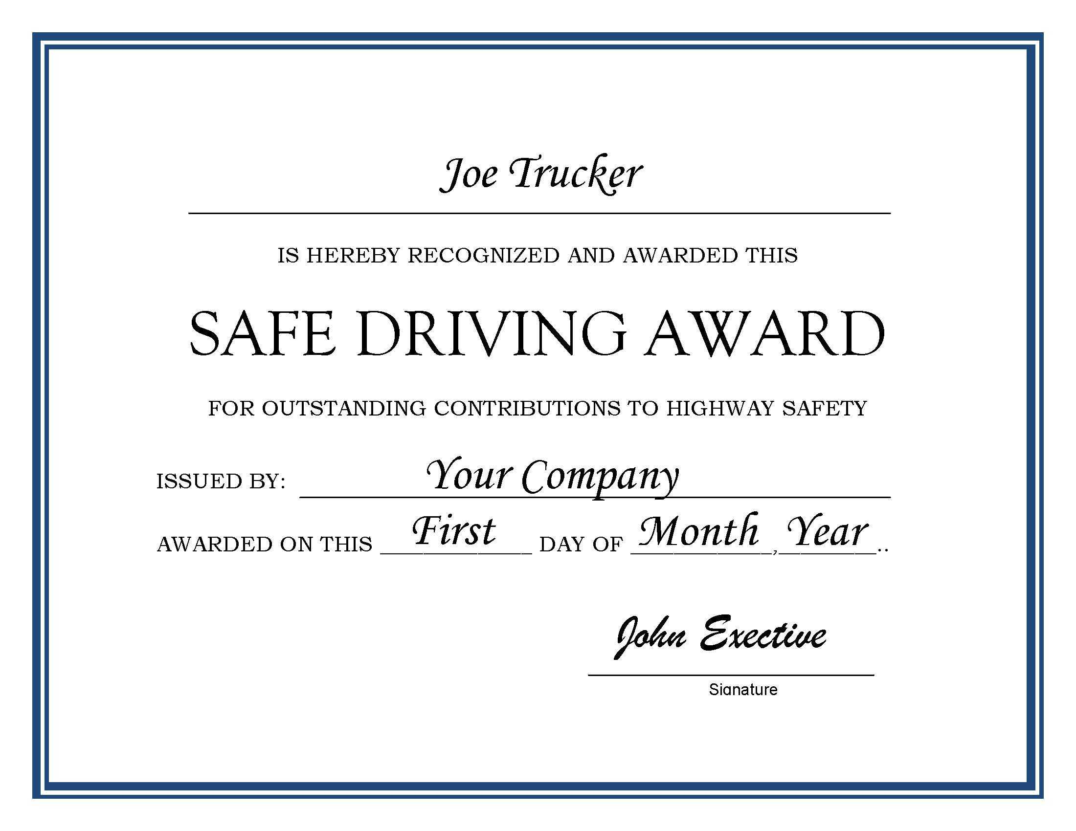 27 Images Of Driver Of The Month Certificate Template With Safe Driving Certificate Template