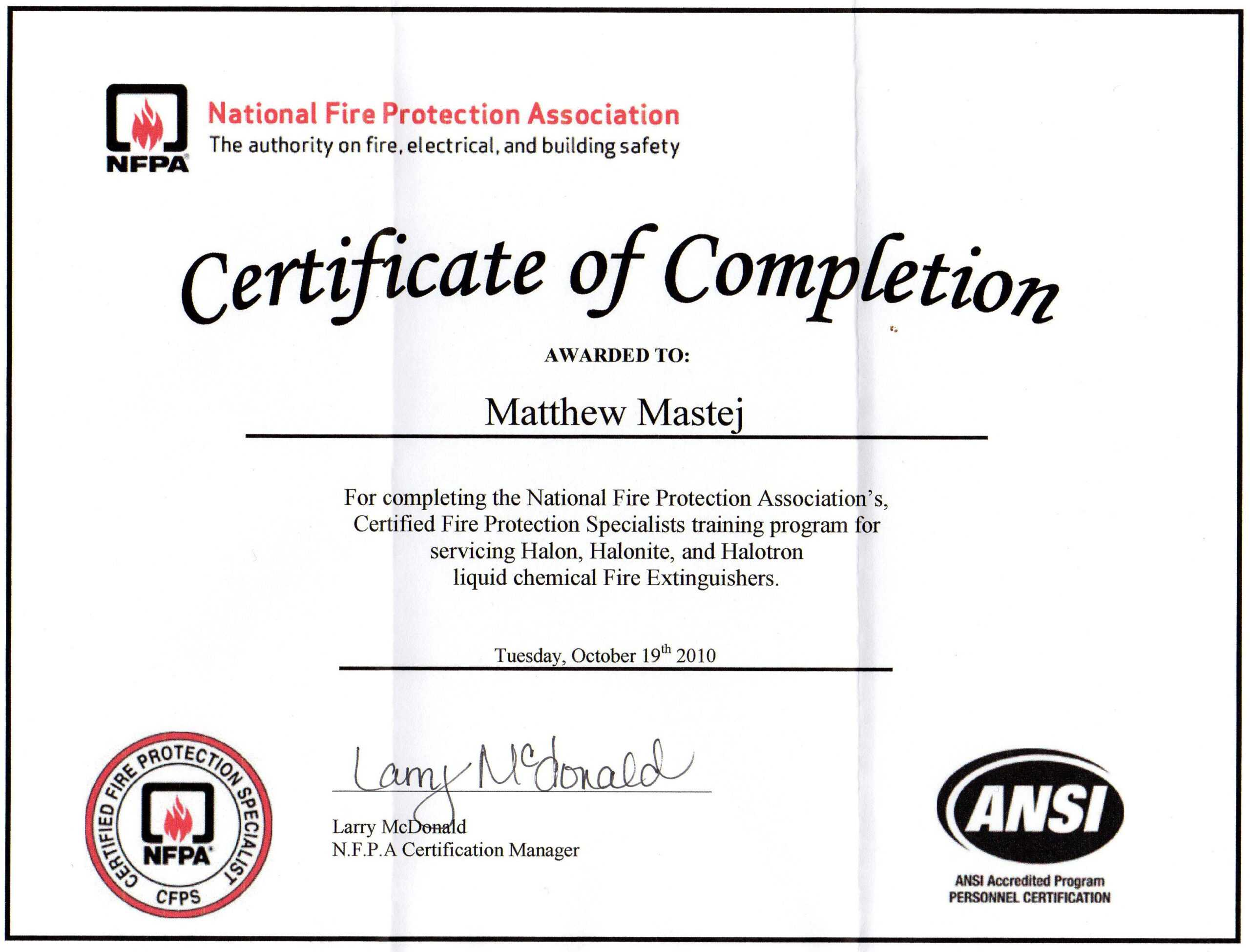 28 Fire Extinguisher Certificate Template Free Printable Throughout Fire Extinguisher Certificate Template