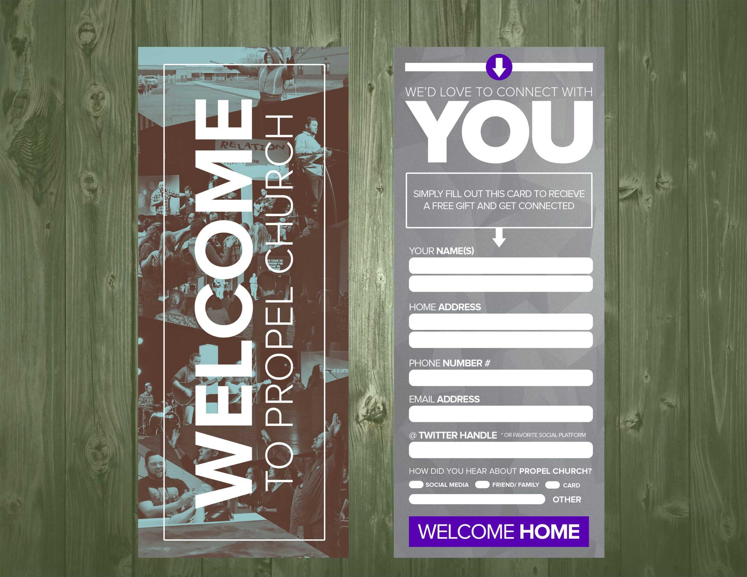 3.5×9 Psd Connection Card Template | Church Design, Church Throughout Church Visitor Card Template Word