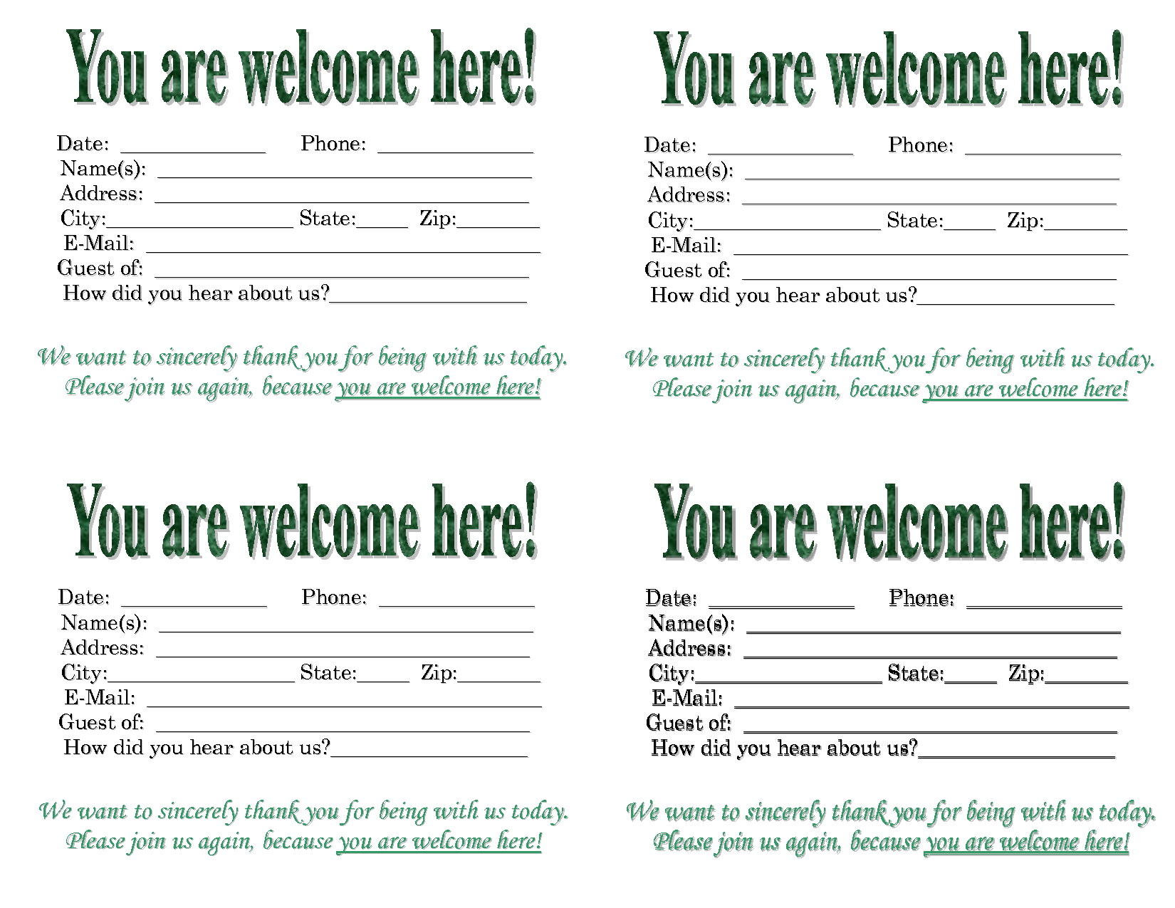 3 Best Images Of Church Visitor Card Template - Church Intended For Church Visitor Card Template Word