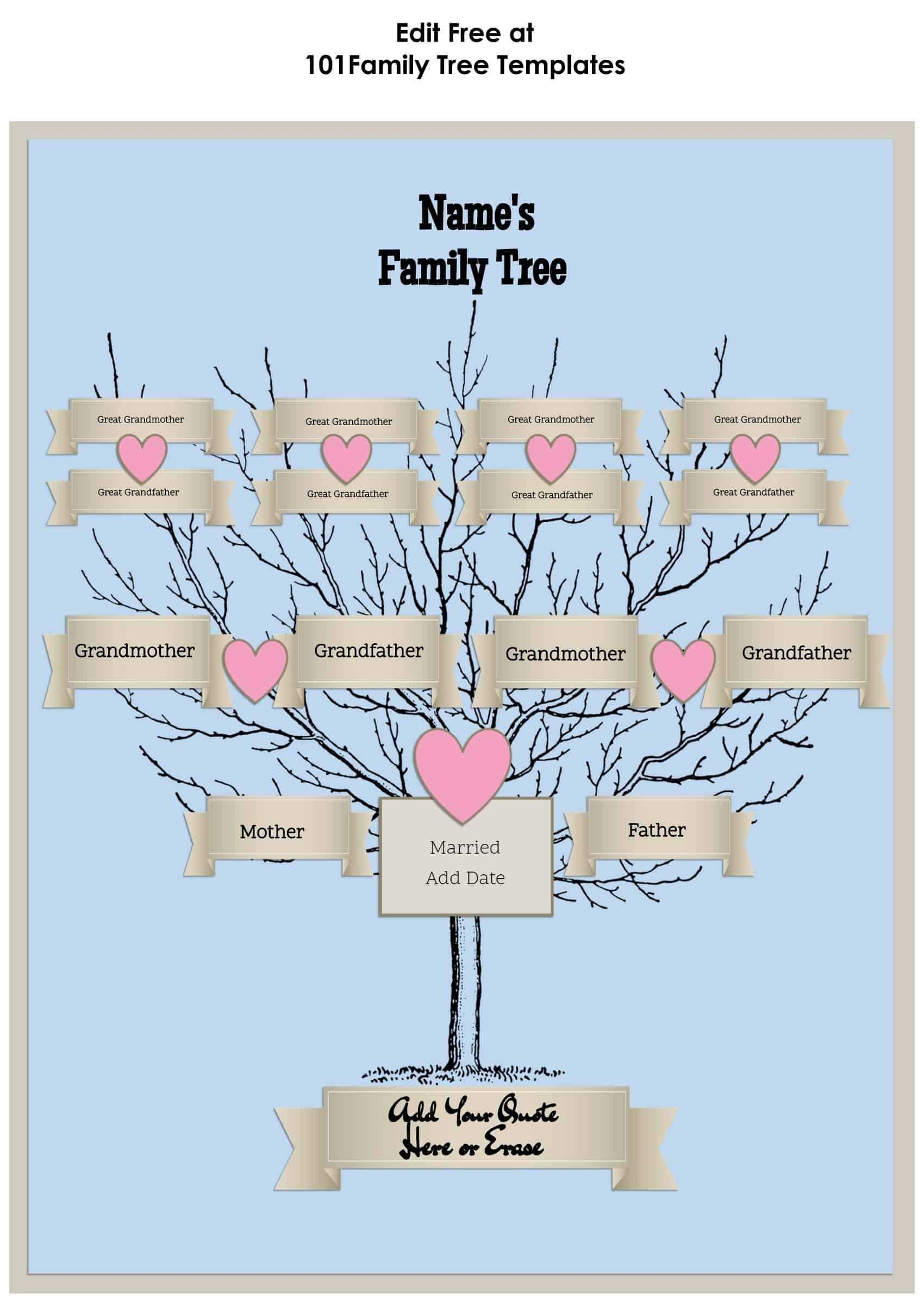 3 Generation Family Tree Generator | All Templates Are Free Within Blank Family Tree Template 3 Generations