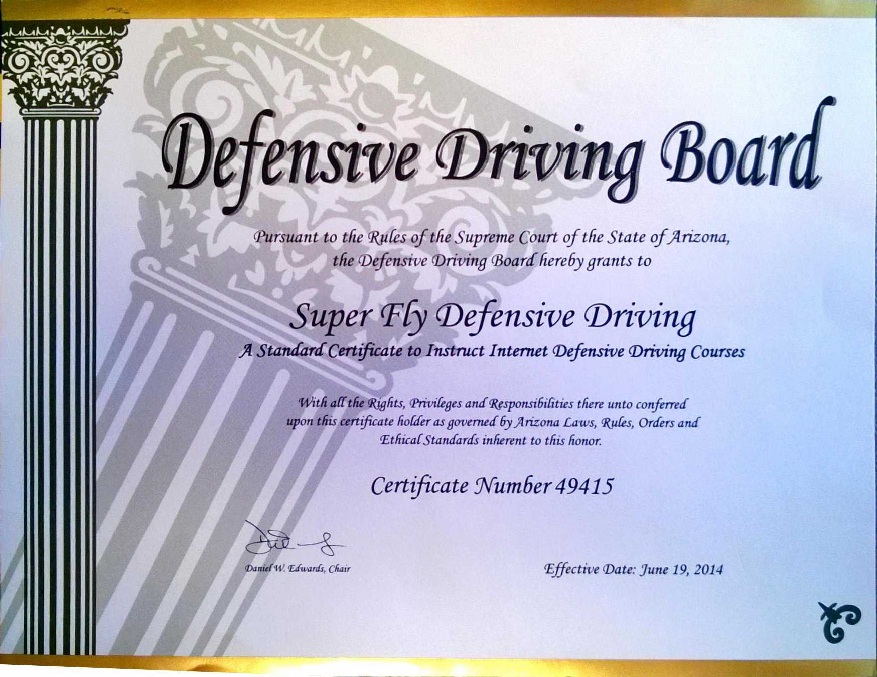 30 Defensive Driving Certificate Template | Pryncepality With Regard To Safe Driving Certificate Template