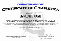 30 Forklift Operator Certificate Template | Pryncepality in Safe Driving Certificate Template