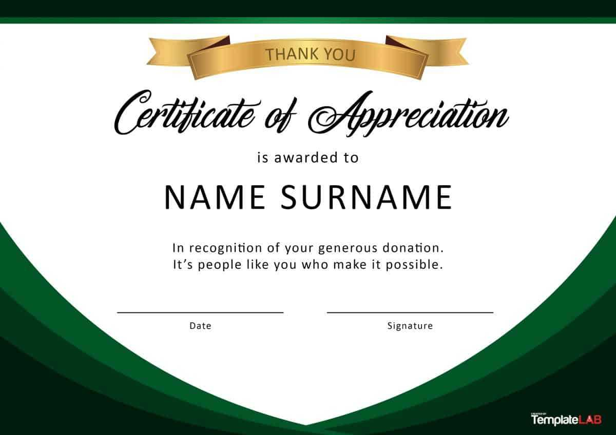 30 Free Certificate Of Appreciation Templates And Letters in Sample Certificate Of Recognition Template
