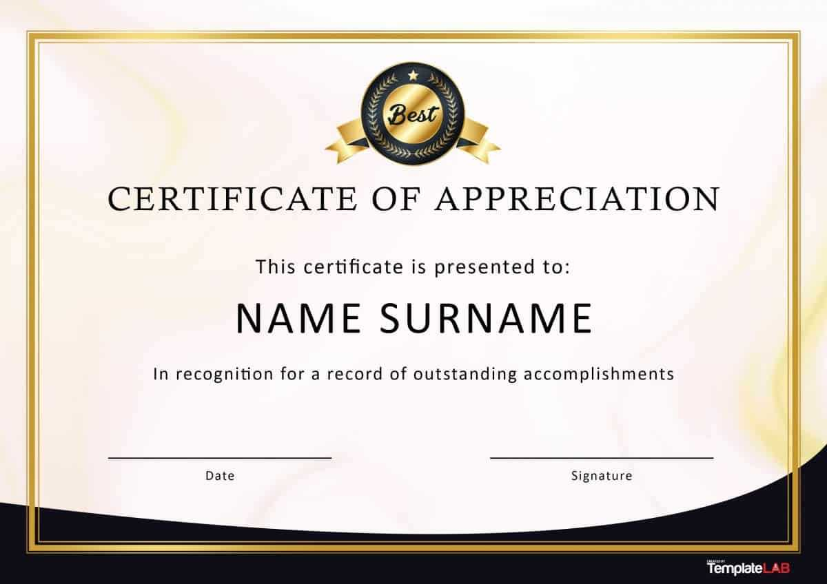 30 Free Certificate Of Appreciation Templates And Letters regarding Sample Certificate Of Recognition Template