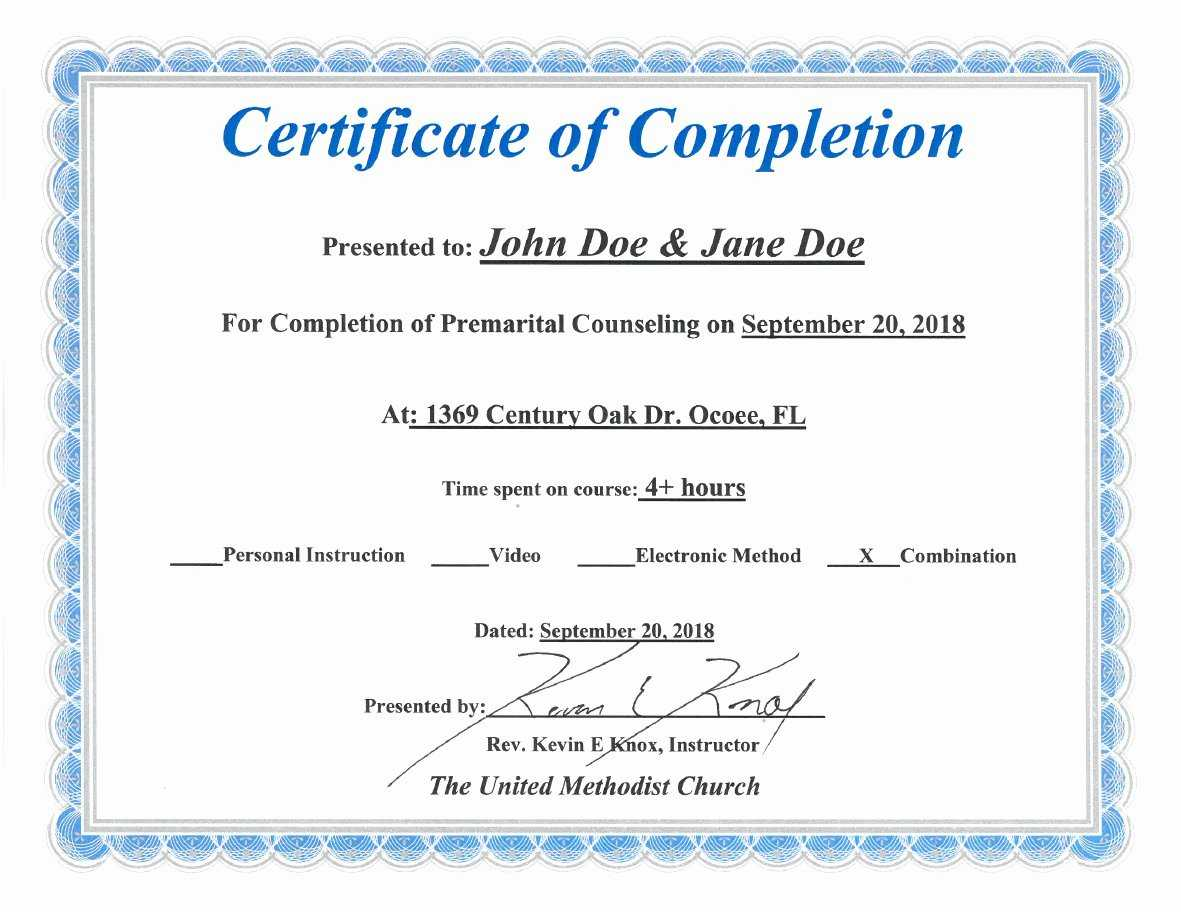 30 Premarital Counseling Certificate Of Completion Template Within Premarital Counseling Certificate Of Completion Template