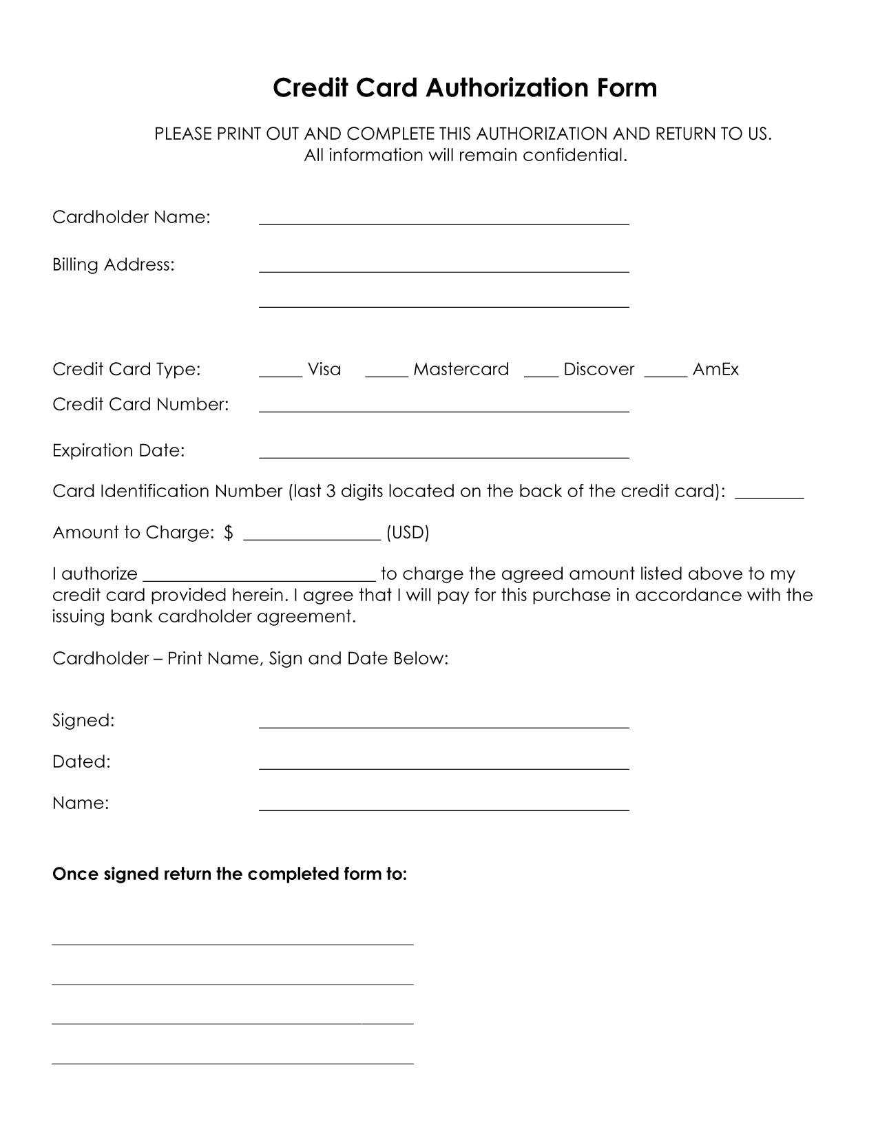 33+ Credit Card Authorization Form Template Download (Pdf, Word) For Authorization To Charge Credit Card Template